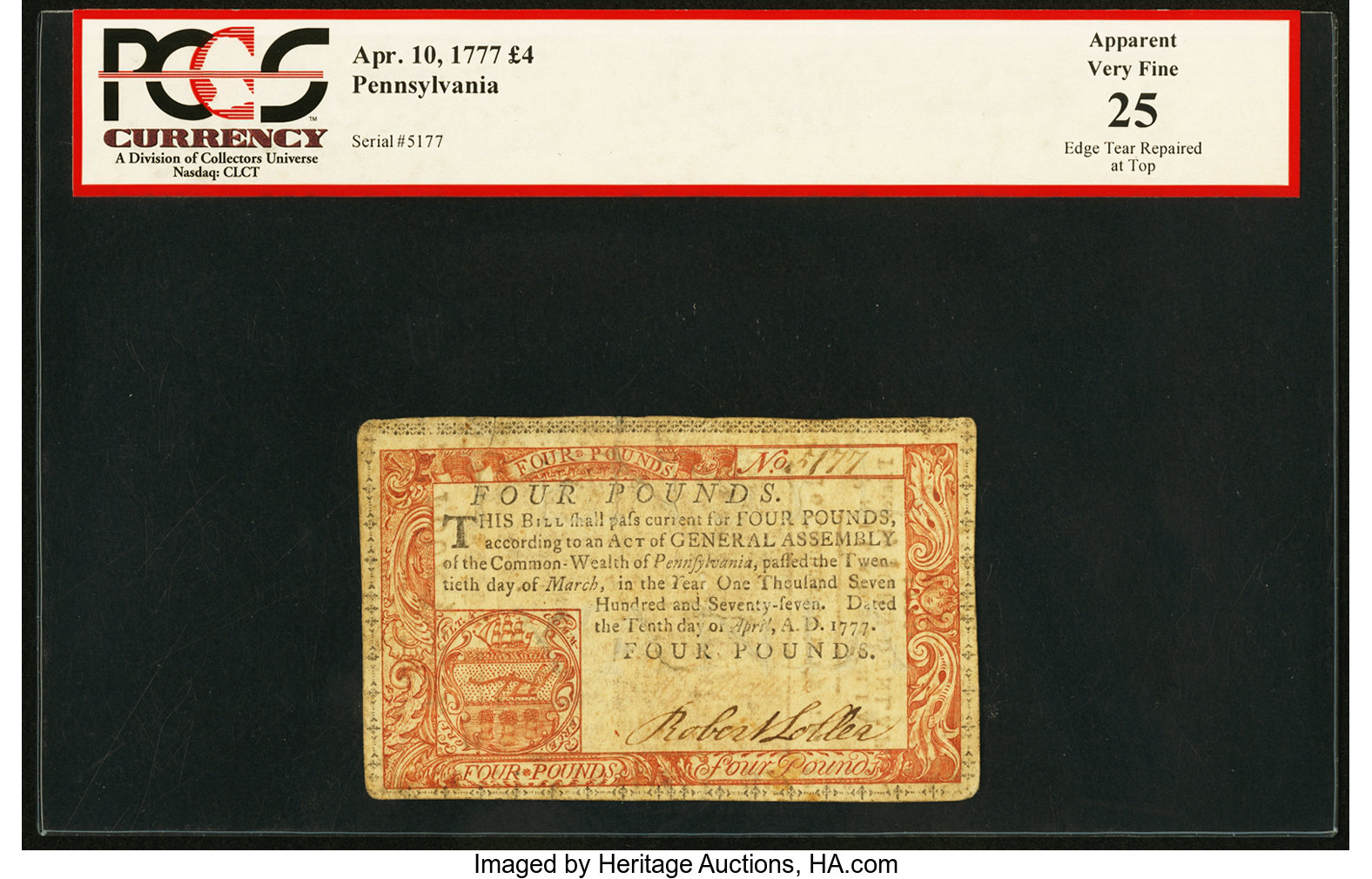 sample image for 1777 10-Apr £4 (Fr.# PA224b)