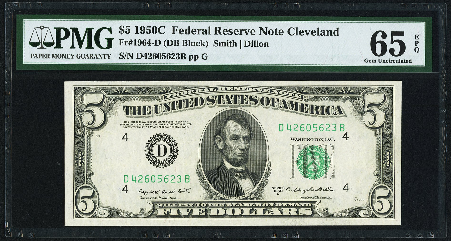 sample image for 1950C Dark Green Seal $5  (Fr.# 1964D)