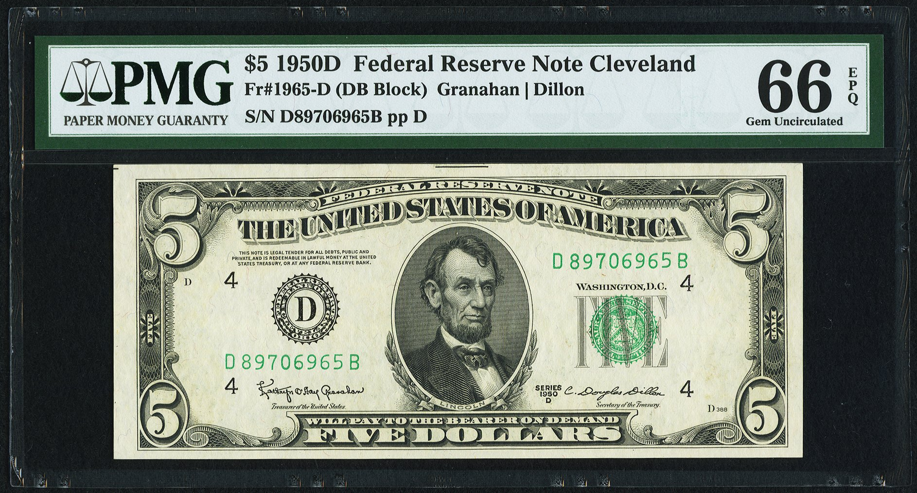sample image for 1950D Dark Green Seal $5  (Fr.# 1965D)