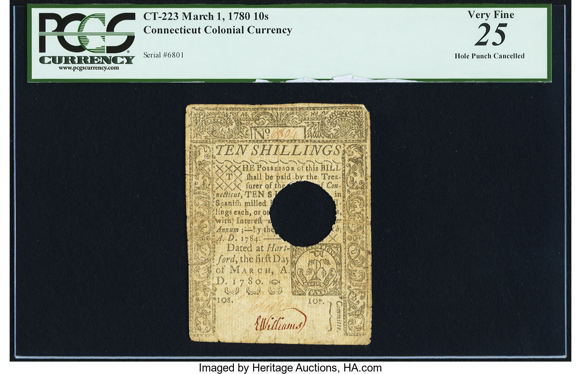 sample image for 1780 1-Mar 10s (Fr.# CT223)