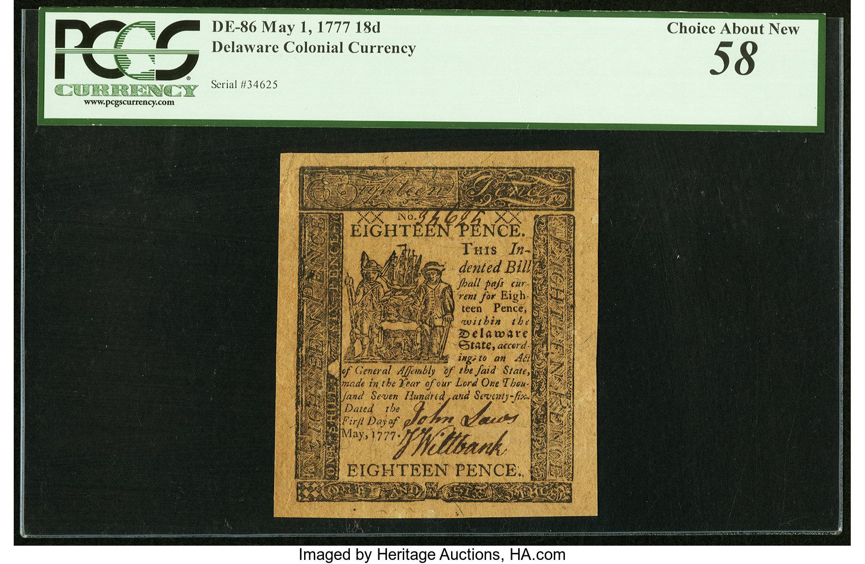 sample image for 1777 1-May 18d (Fr.# DE86)