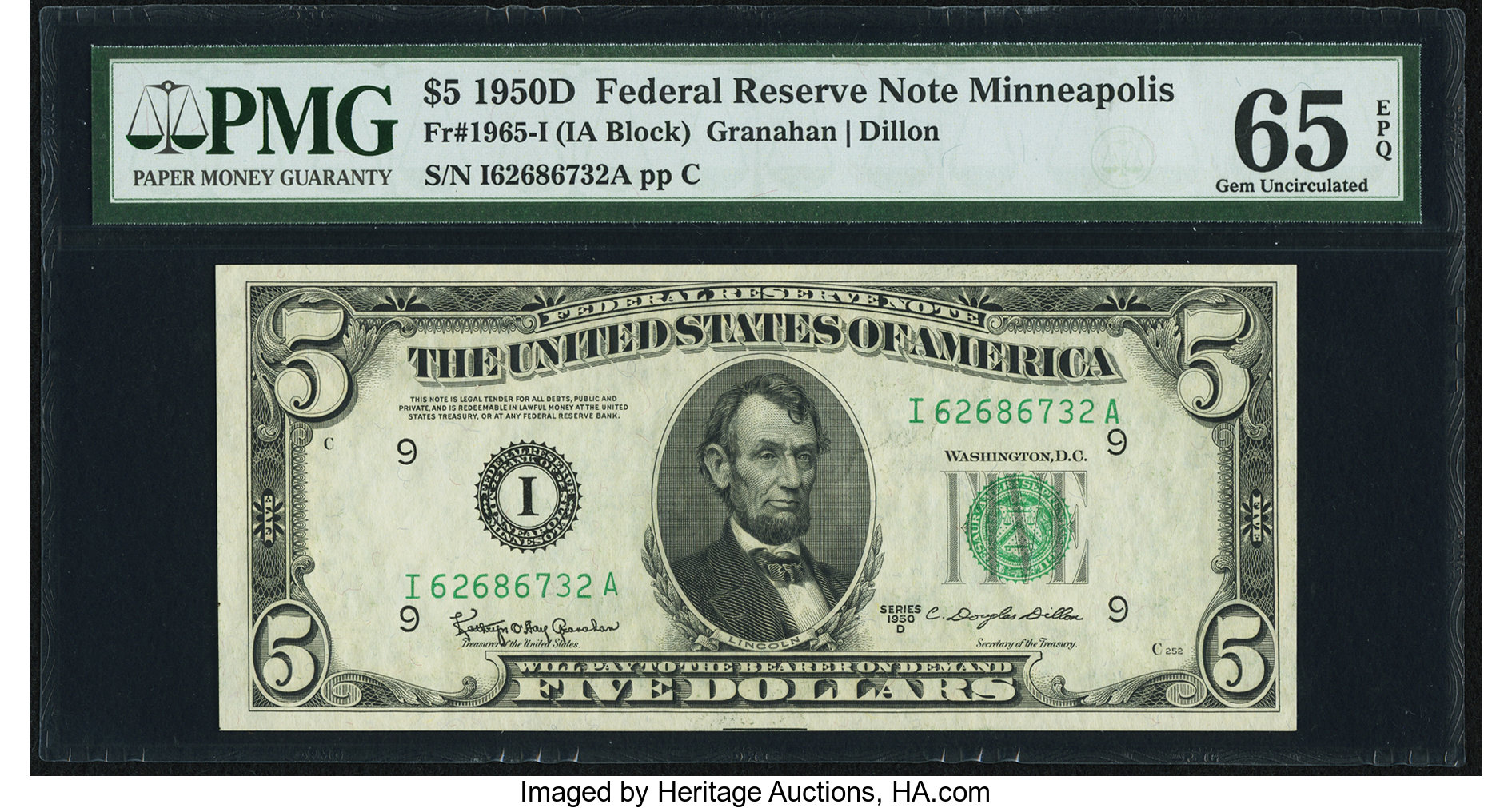 sample image for 1950D Dark Green Seal $5  (Fr.# 1965I)