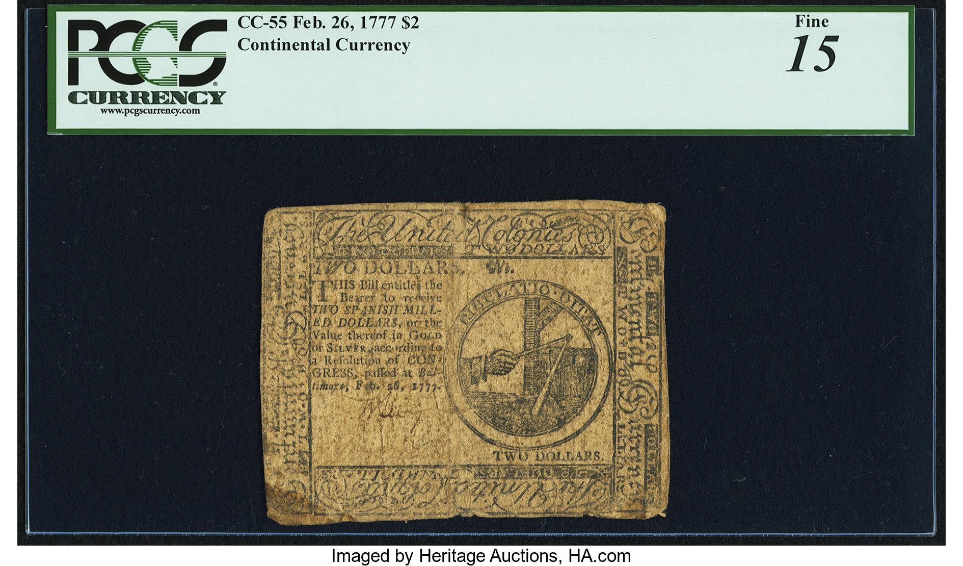 sample image for 1777 $2 CC55 Baltimore
