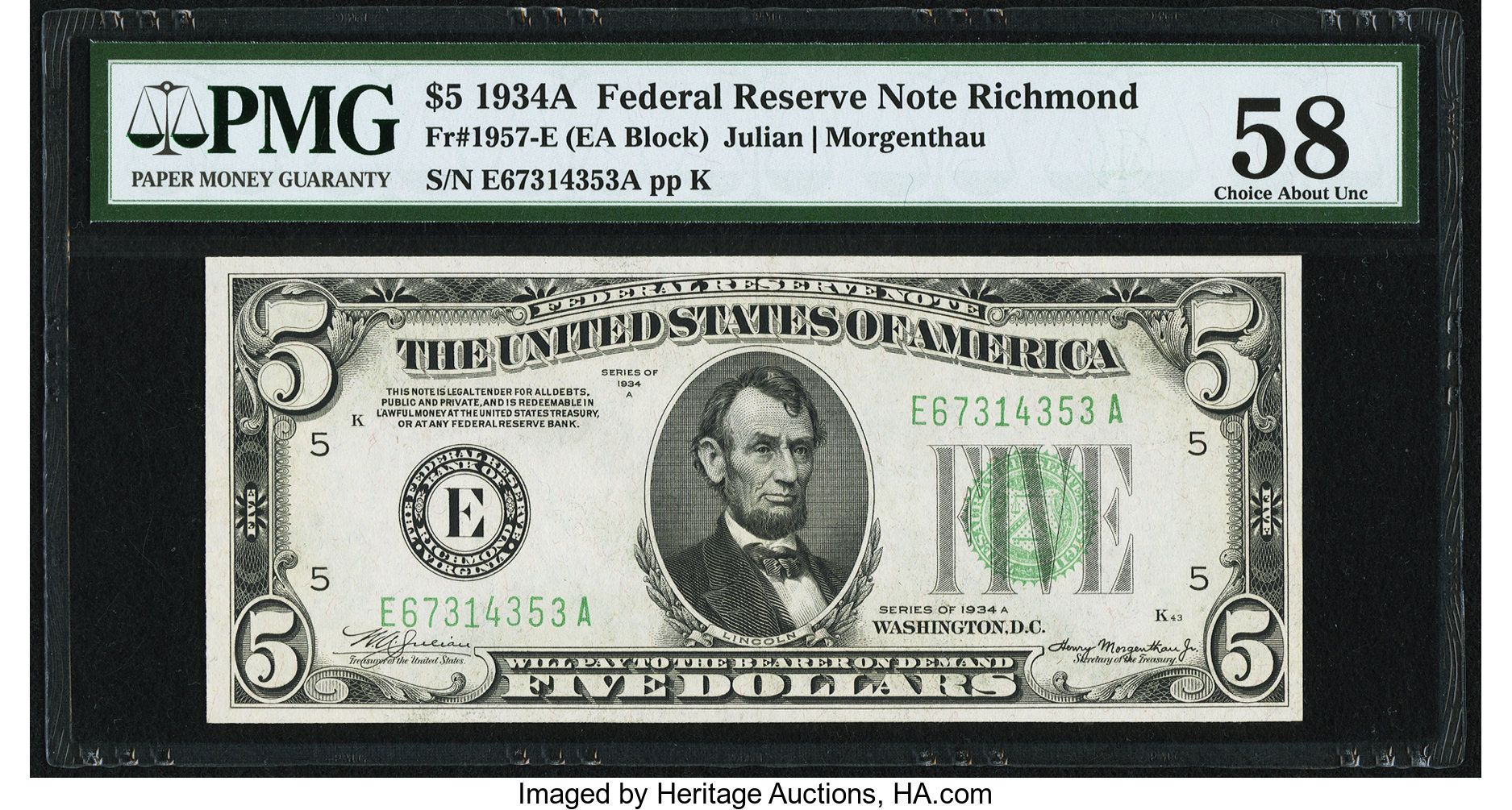 sample image for 1934A $5  Richmond (Fr.# 1957E)