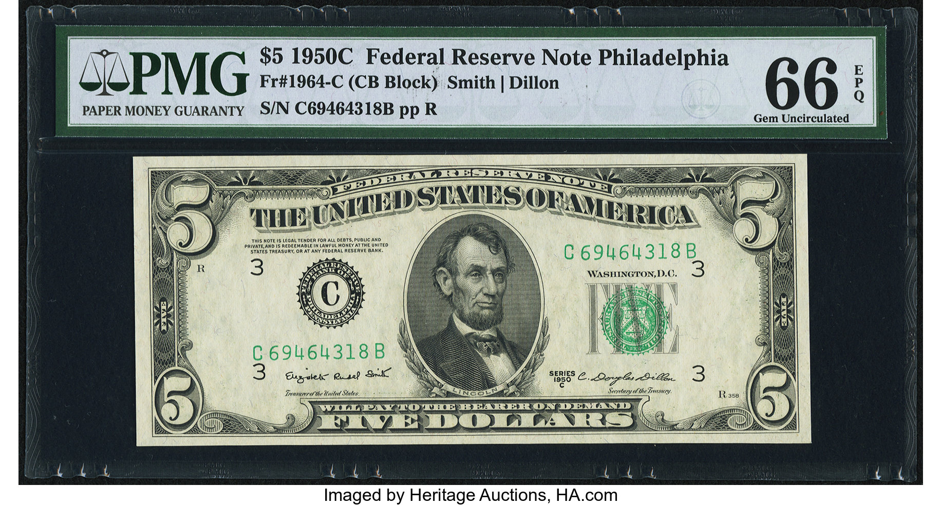 sample image for 1950C Dark Green Seal $5  (Fr.# 1964C)