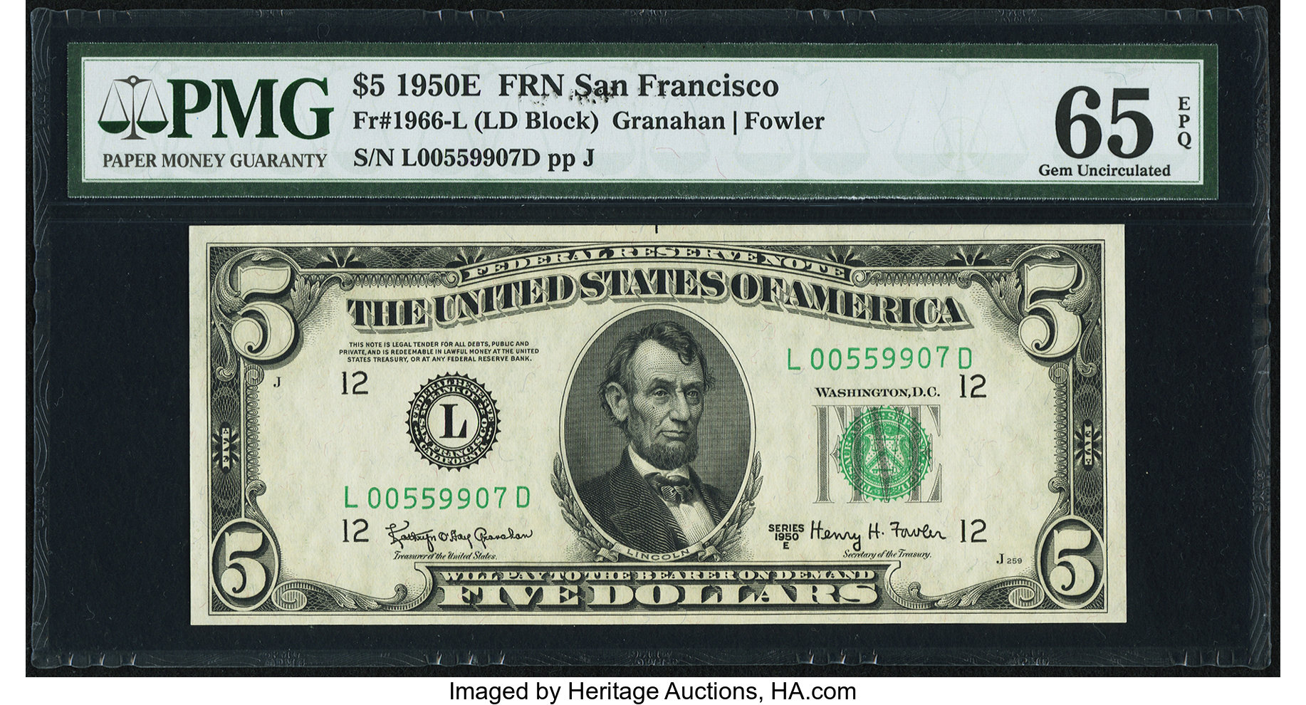 sample image for 1950E Dark Green Seal $5  (Fr.# 1966L)