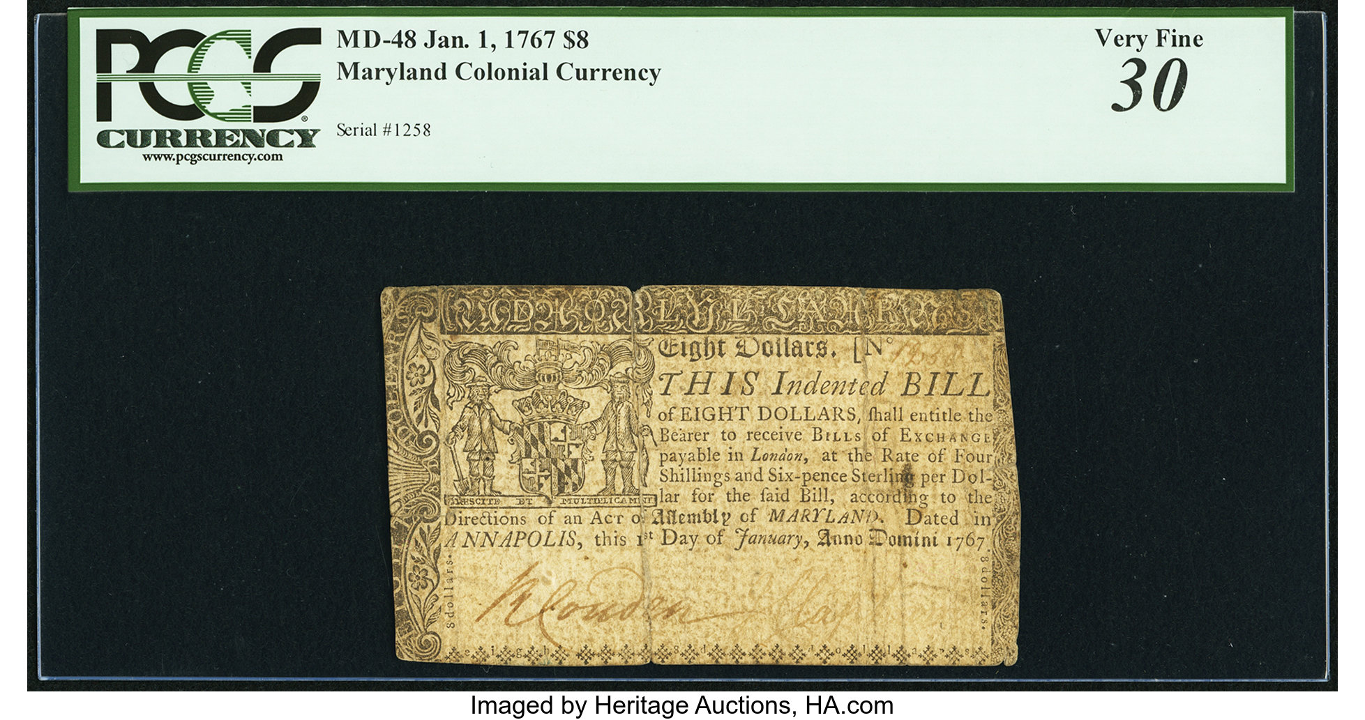 sample image for 1767 1-Jan $8  (Fr.# MD48)