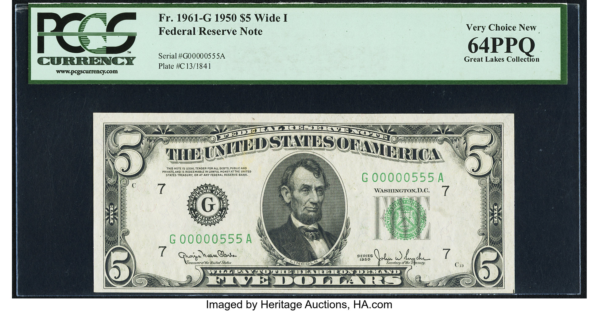 sample image for 1950 Dark Green Seal $5  (Fr.# 1961G)