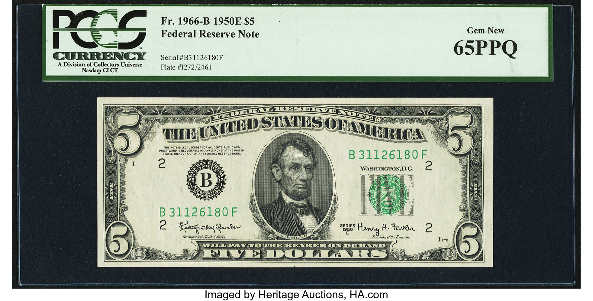 sample image for 1950E Dark Green Seal $5  (Fr.# 1966B)
