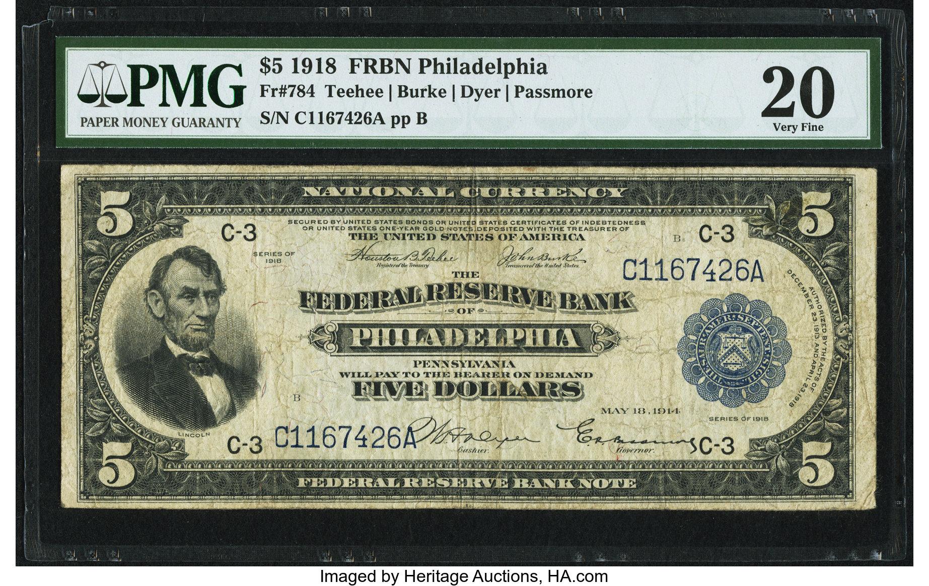 sample image for 1918 $5  Philadelphia (Fr.# 784)