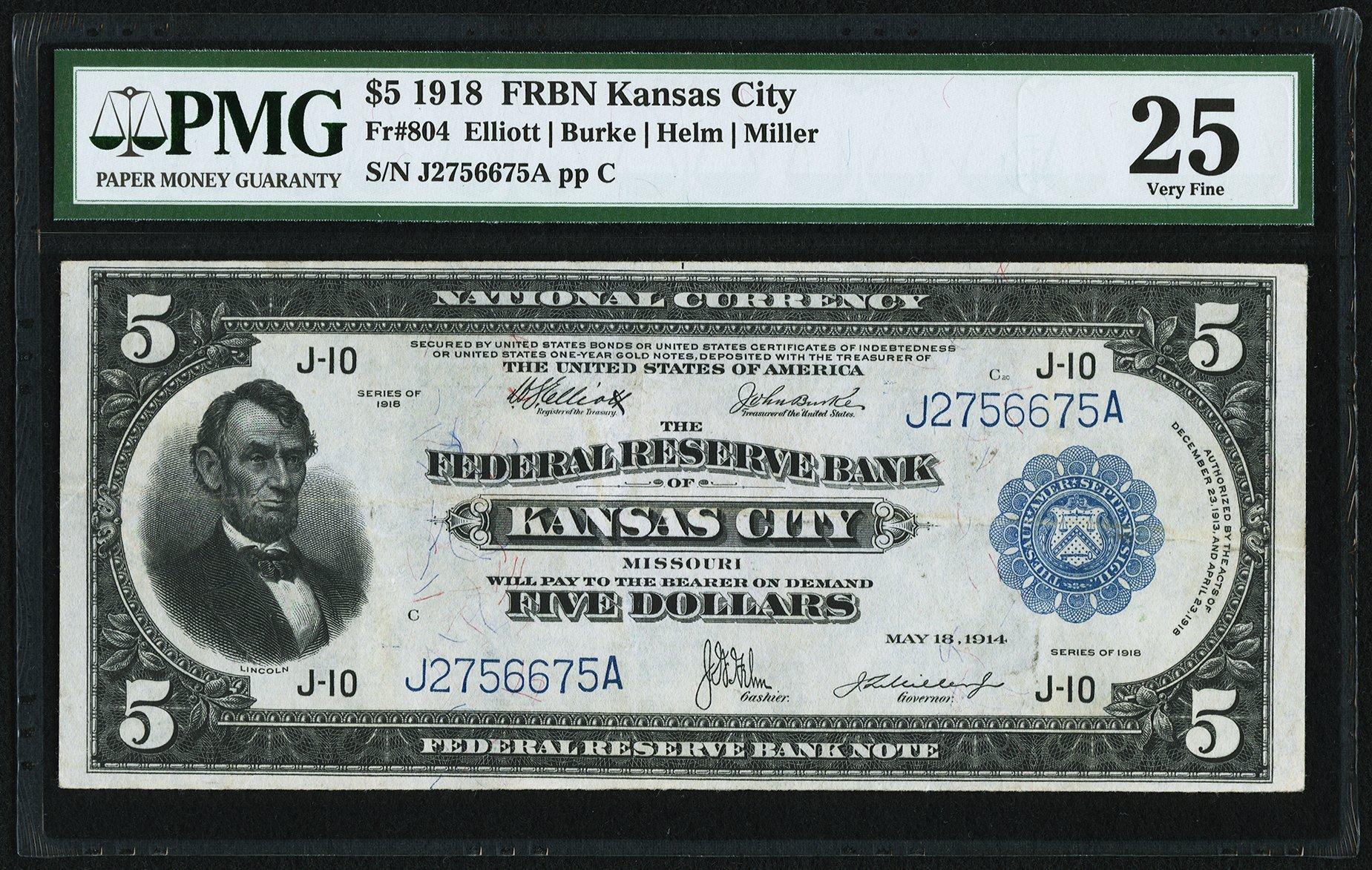 sample image for 1918 $5  Kansas City (Fr.# 804)
