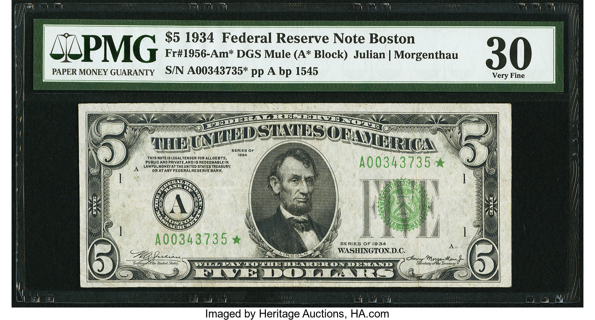 sample image for 1934 Dark Green Seal $5  Boston (Fr.# 1956A)