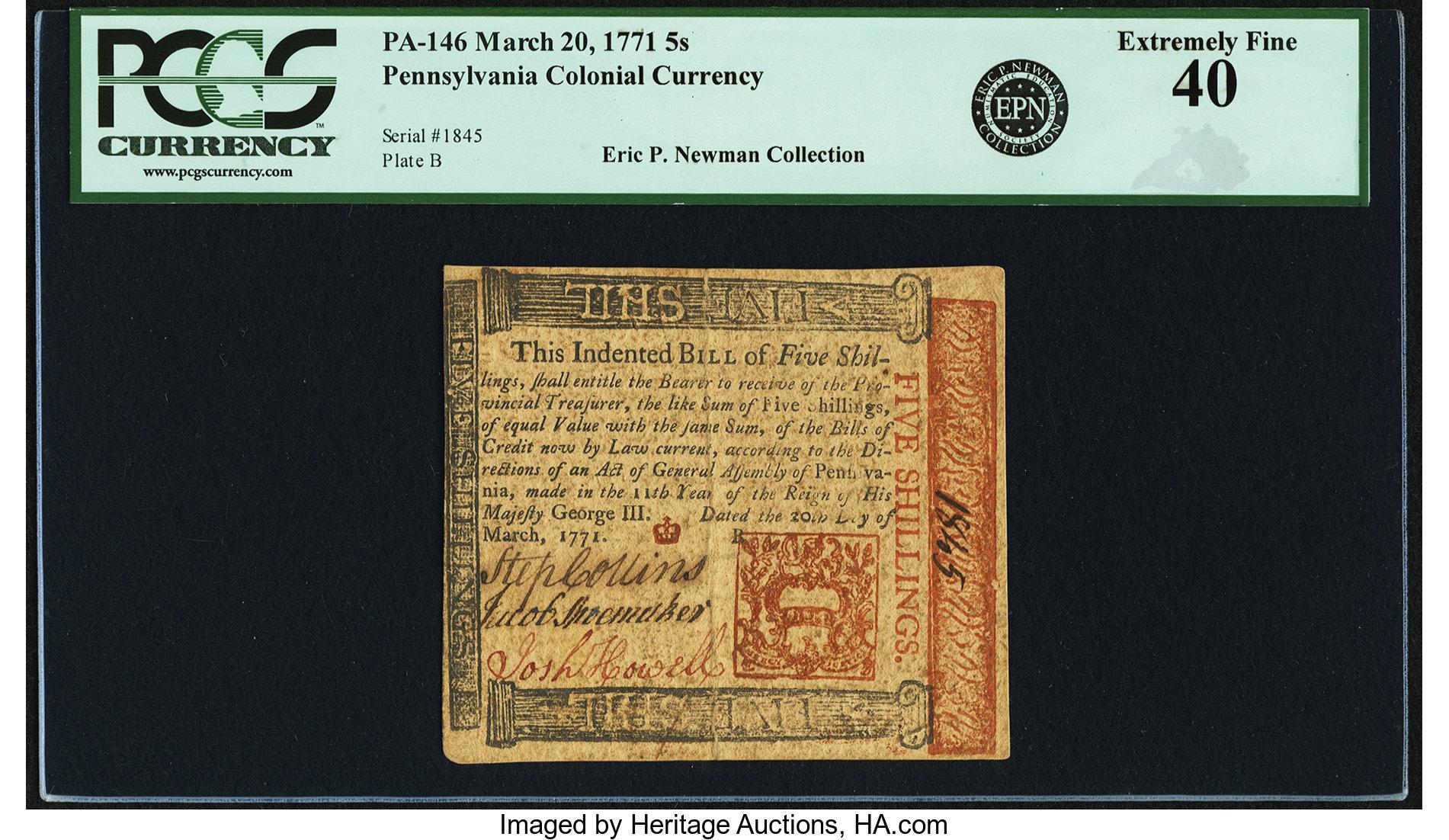sample image for 1771 20-Mar 5s (Fr.# PA146)