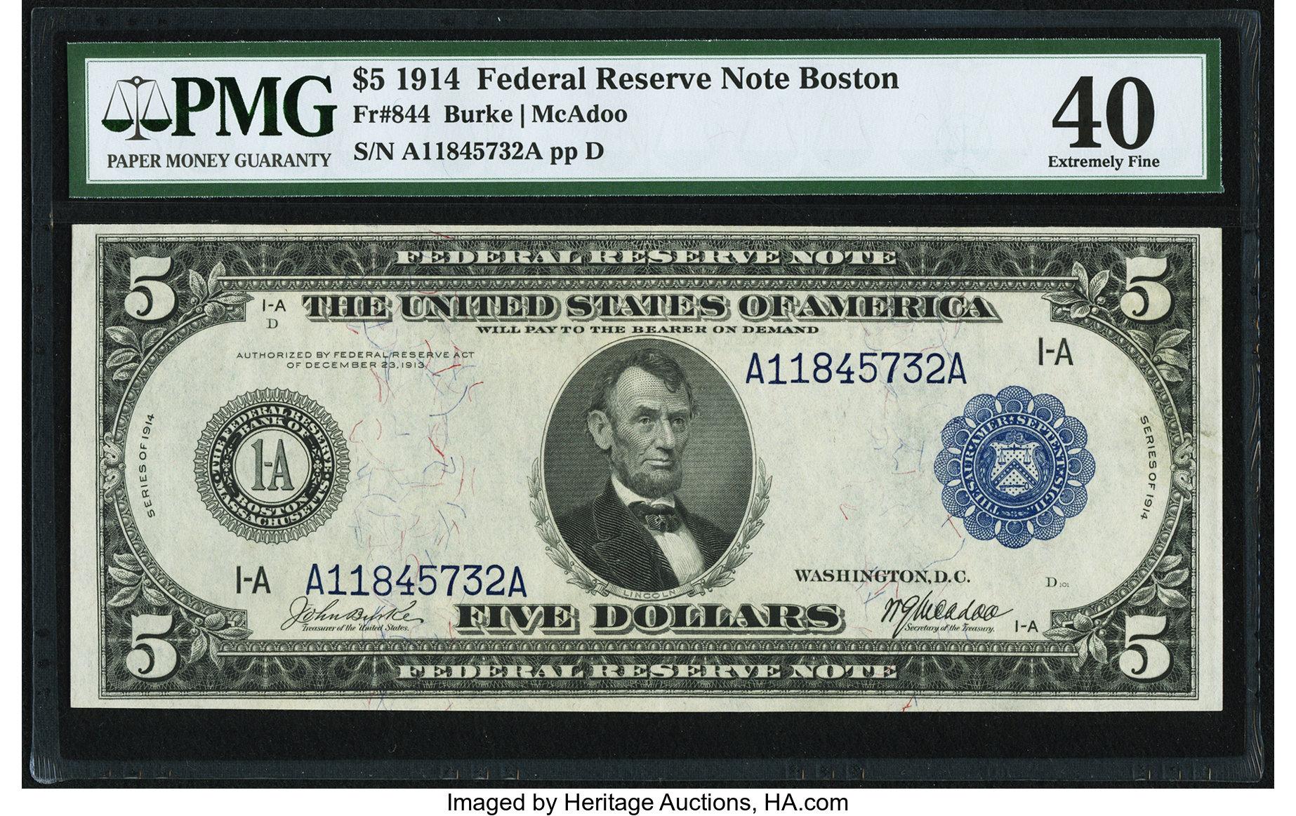 sample image for Fr.844 $5 Boston