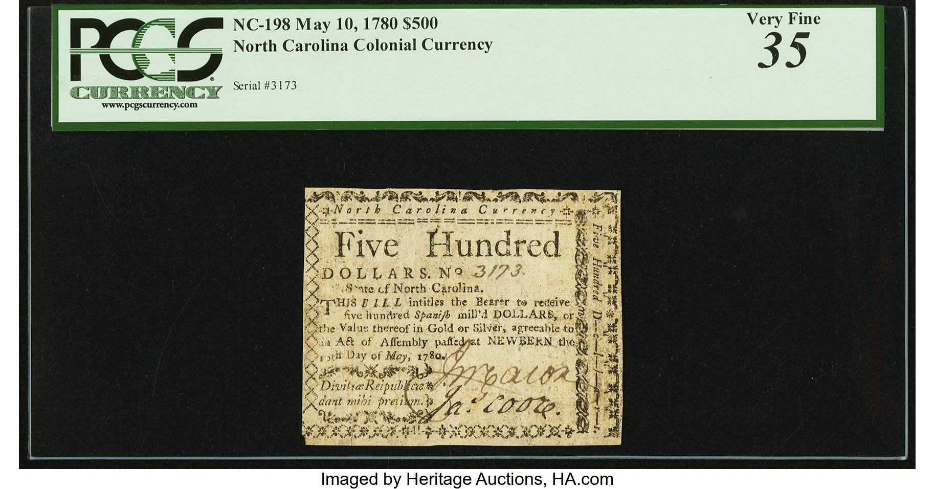 sample image for 1780 10-May $500  (Fr.# NC198)