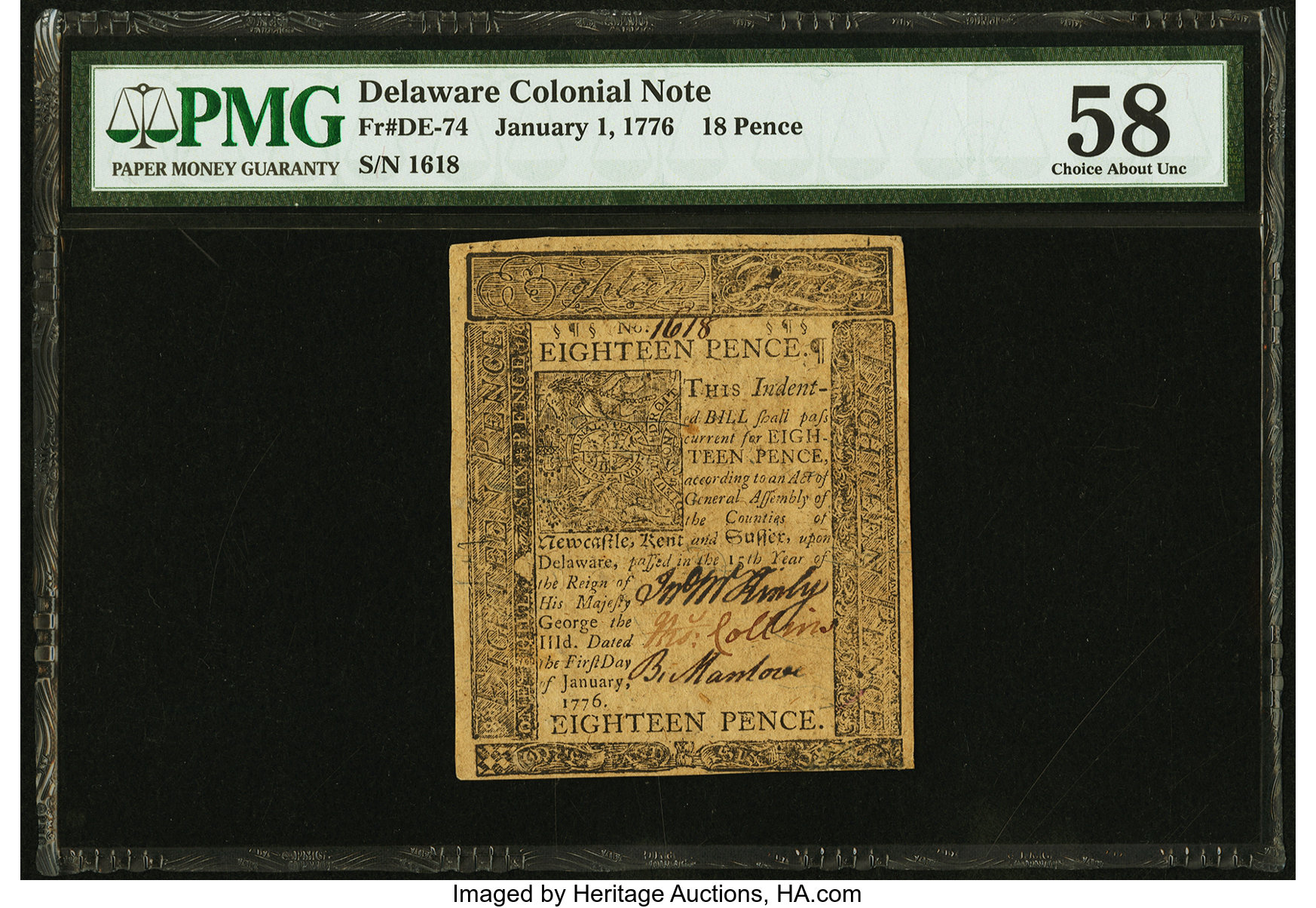 sample image for 1776 1-Jan 18d (Fr.# DE74)