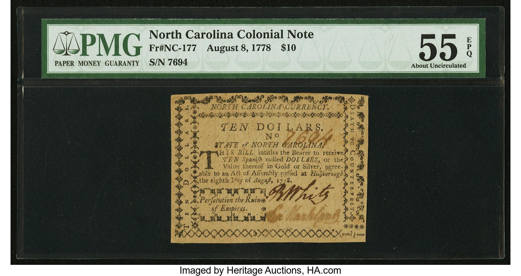 sample image for 1778 8-Aug $10  (Fr.# NC177)