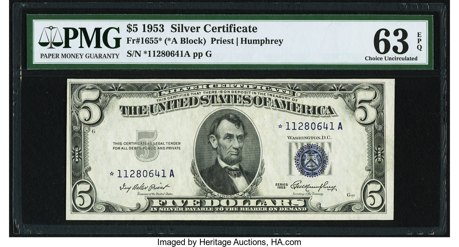 sample image for 1953 $5  Replacement (Fr.# 1655*)