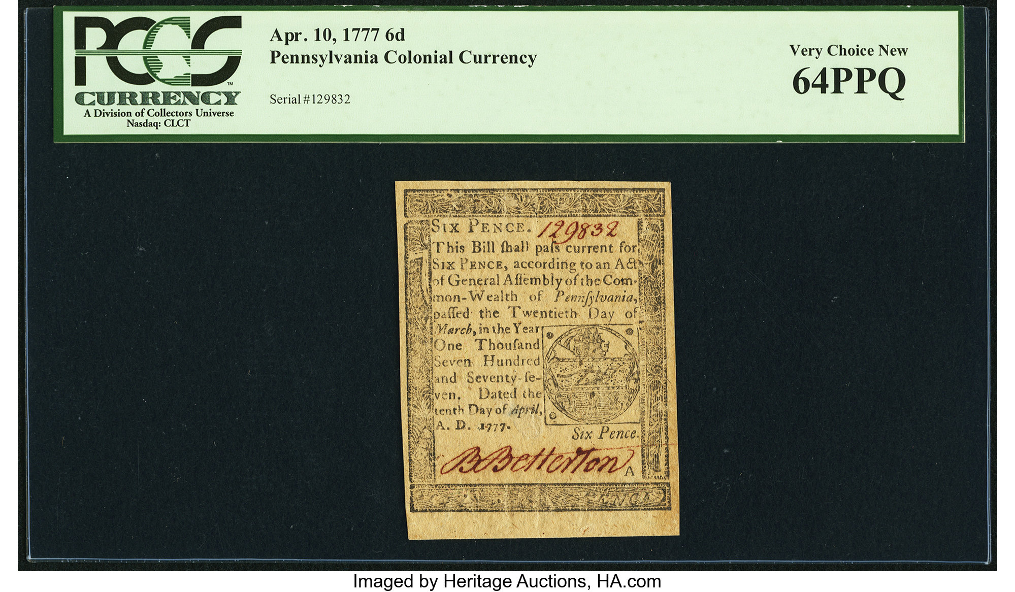 sample image for 1777 10-Apr 6d (Fr.# PA211)