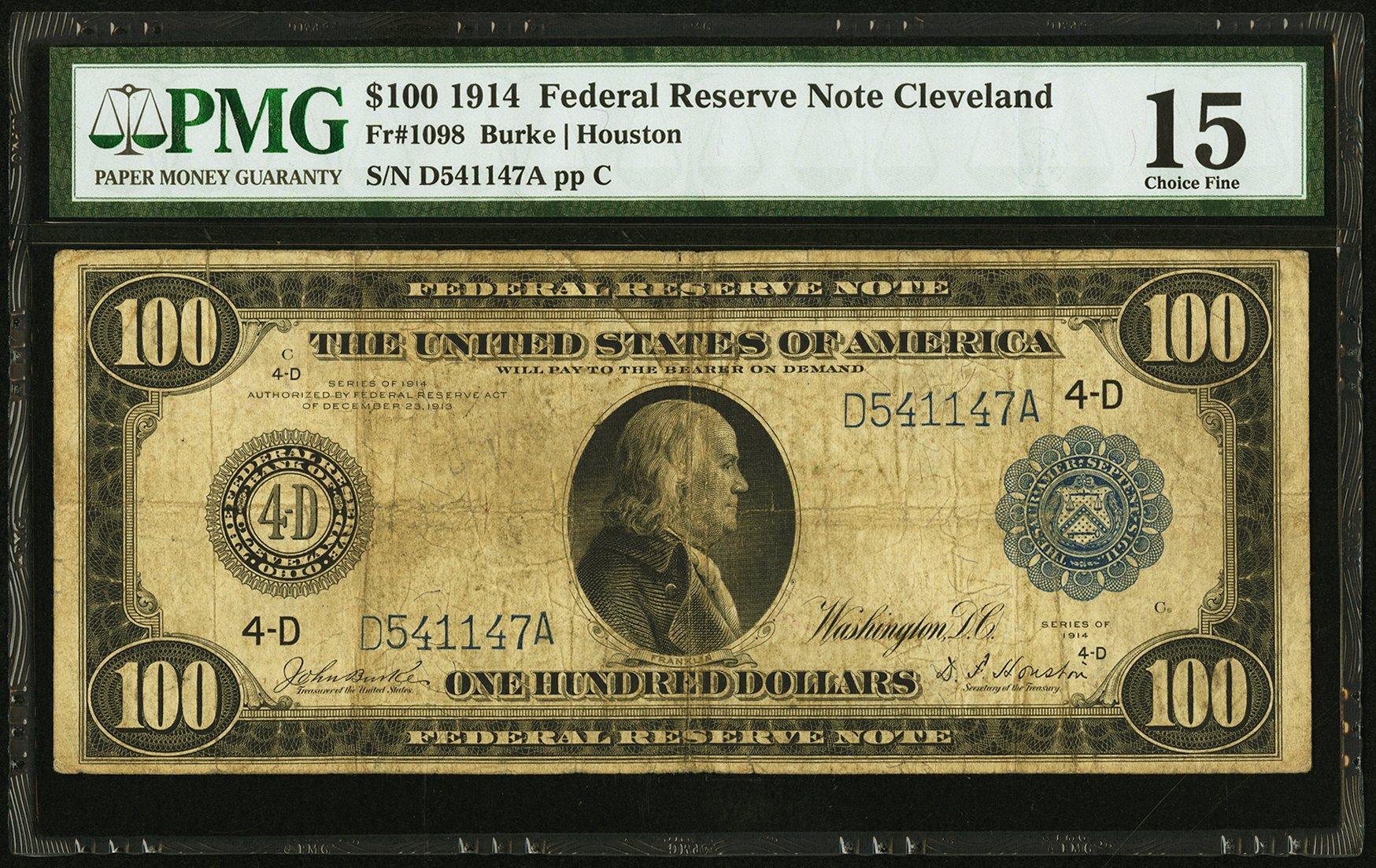 sample image for Fr.1098 $100 Cleveland