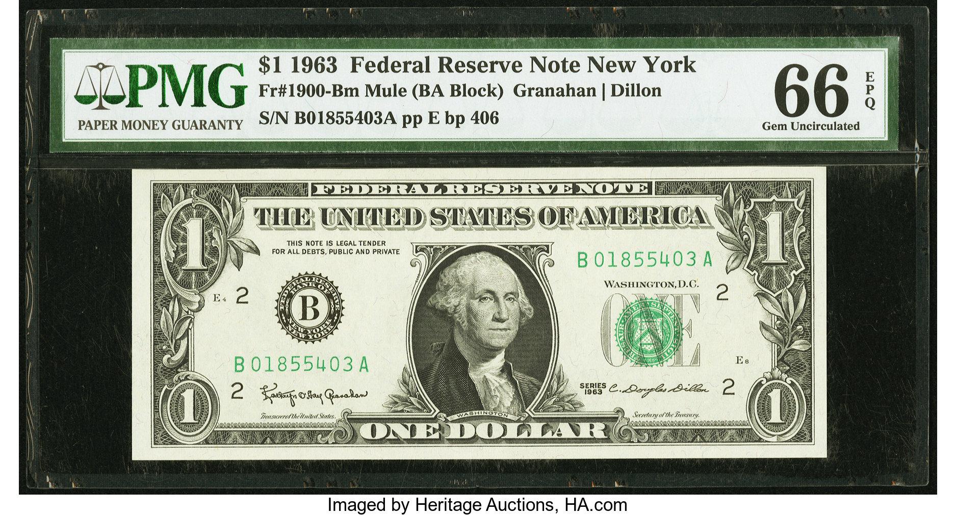 sample image for 1963 $1  New York (Fr.# 1900B)