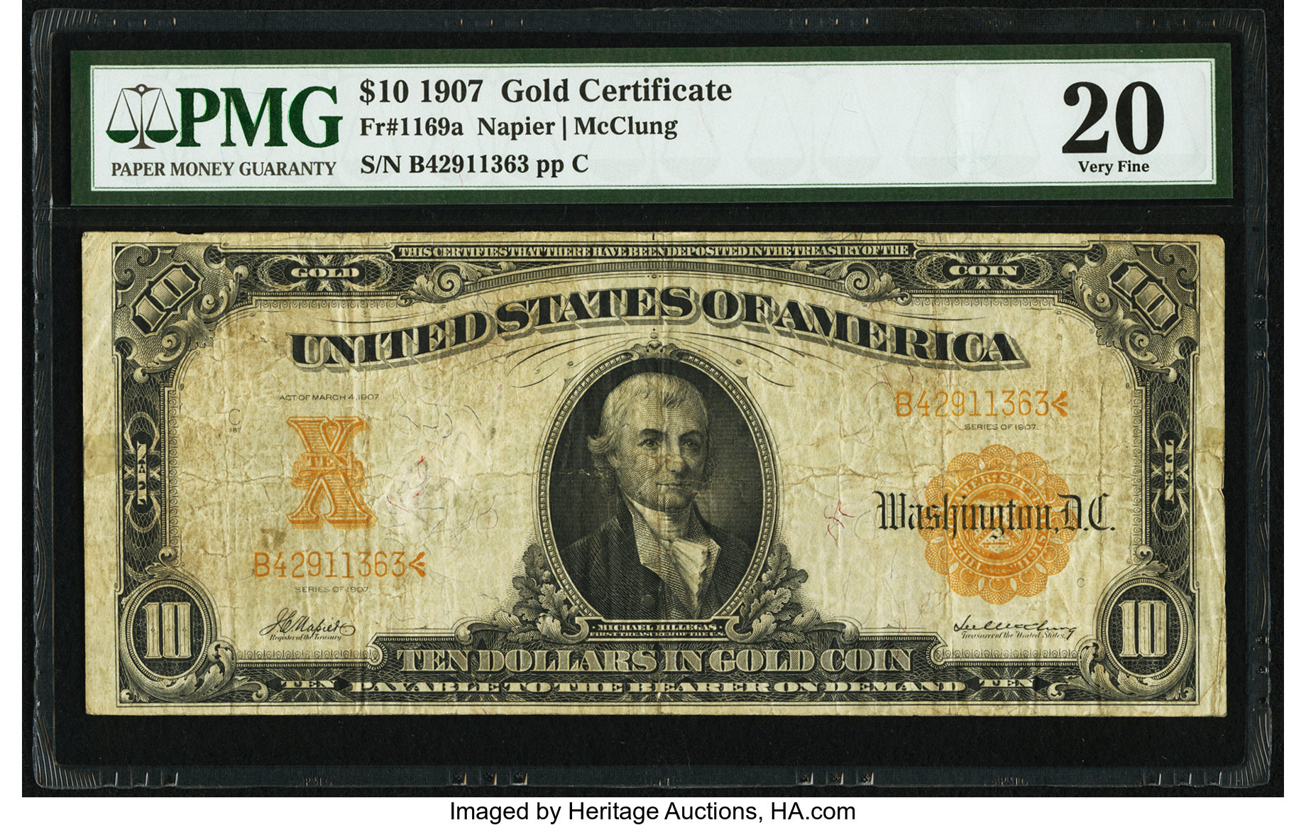 sample image for 1907 $10 (Fr.1169a)