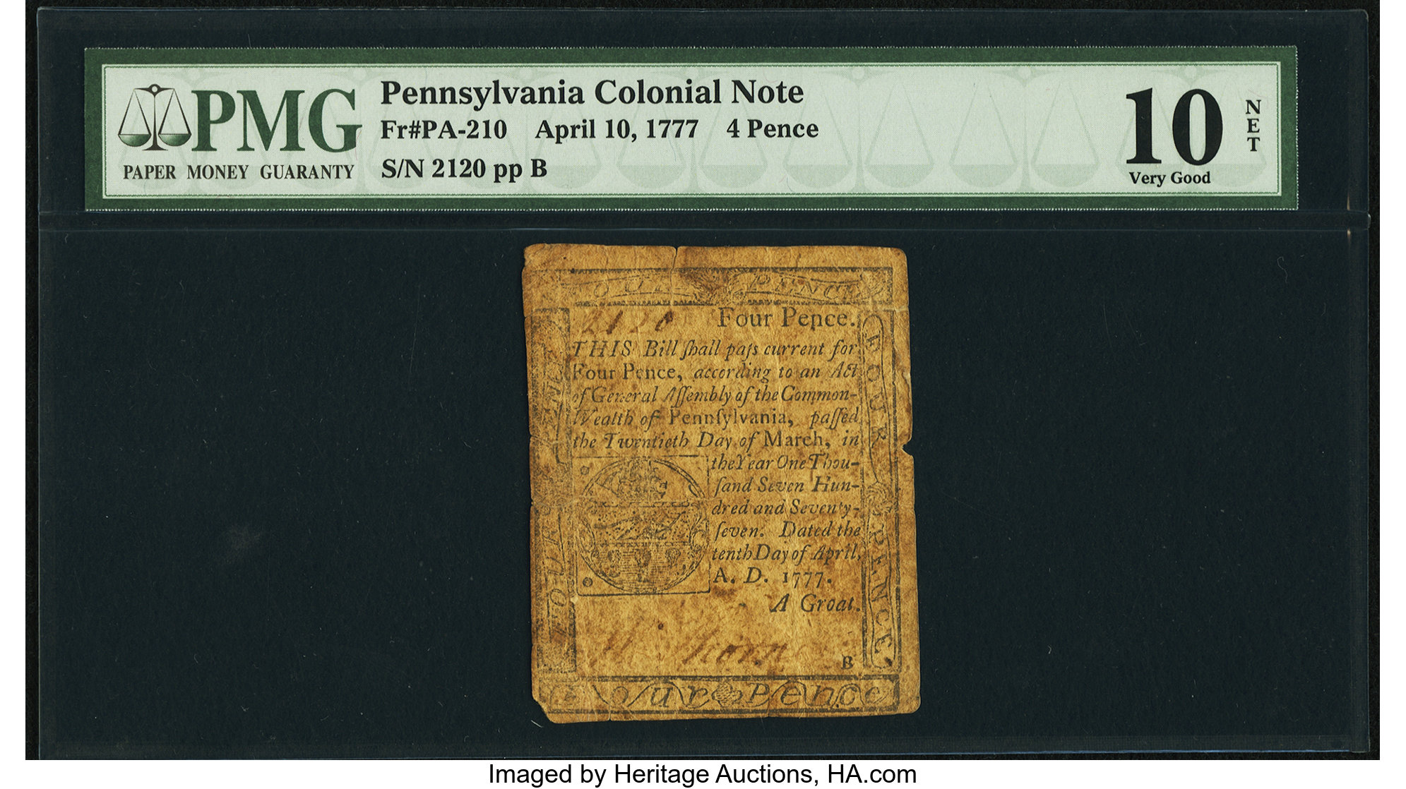 sample image for 1777 10-Apr 4d (Fr.# PA210)