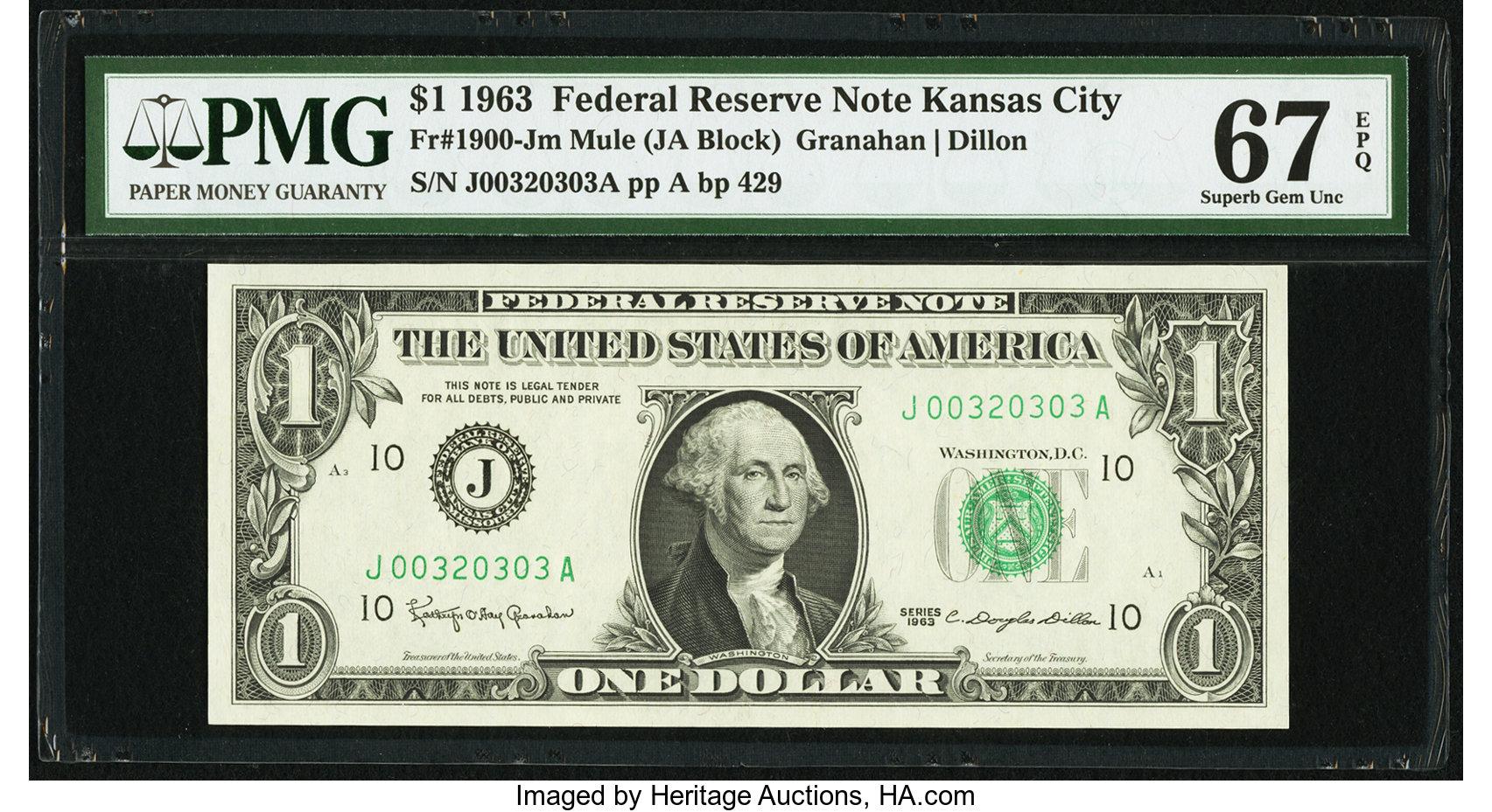 sample image for 1963 $1  Kansas City (Fr.# 1900J)
