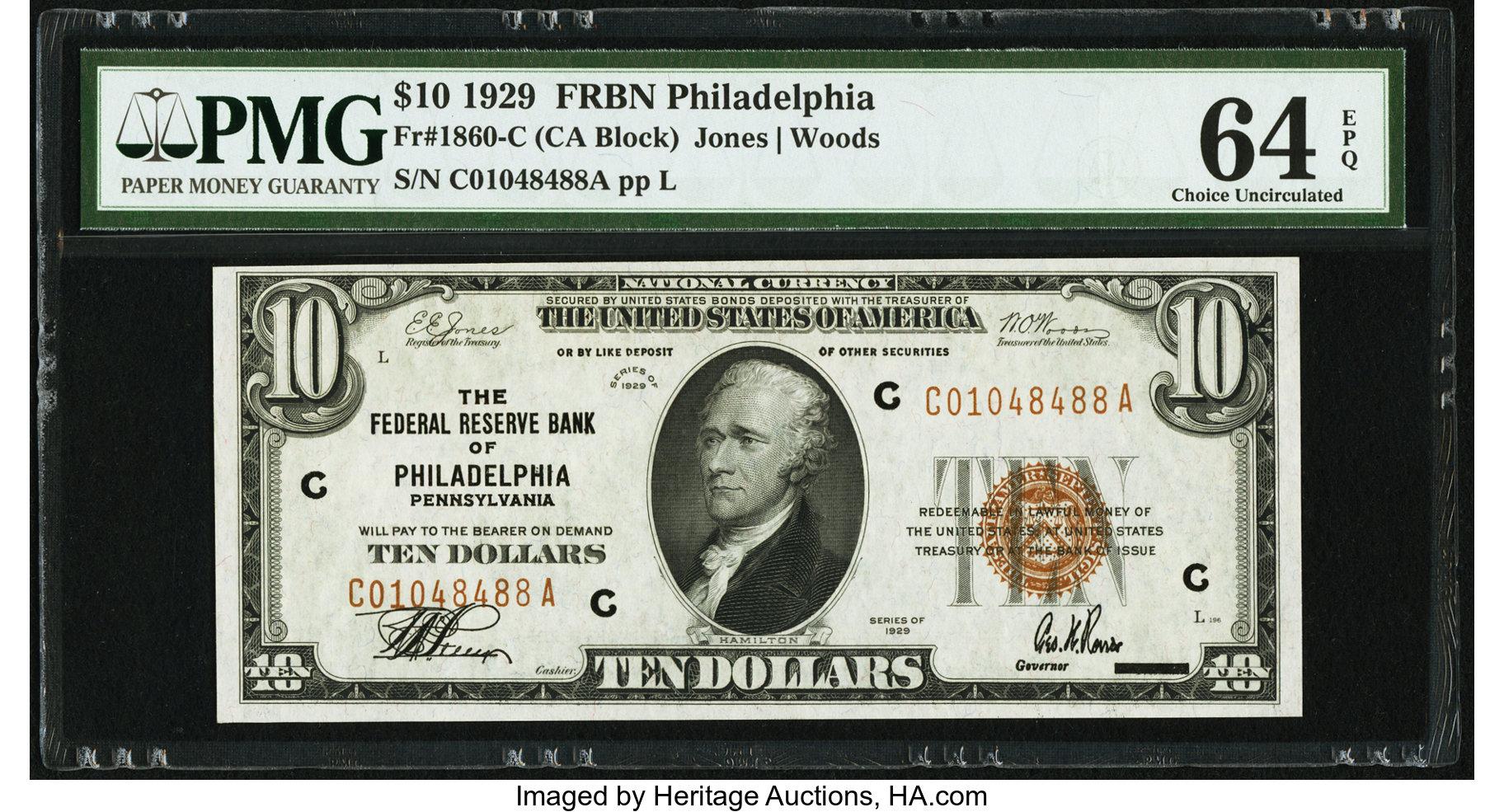 sample image for 1929 $10  Philadelphia (Fr.# 1860C)
