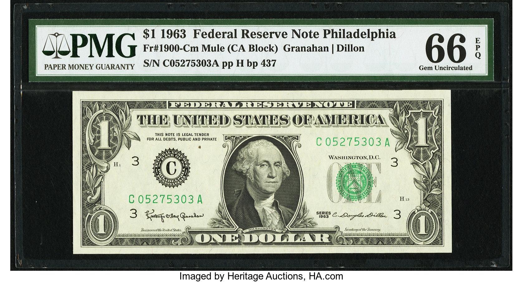 sample image for 1963 $1  Philadelphia (Fr.# 1900C)