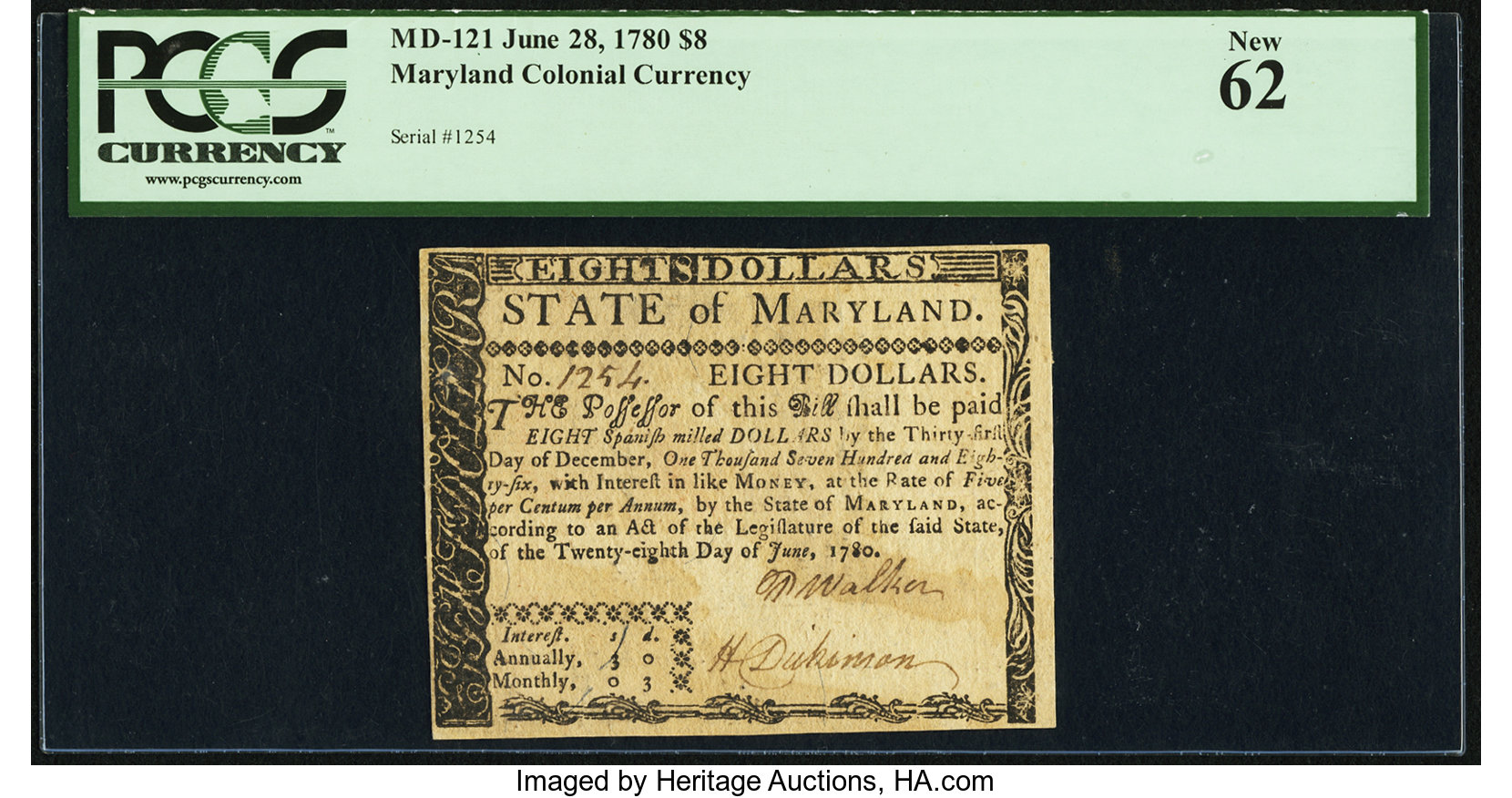 sample image for 1780 28-Jun $8  (Fr.# MD121)