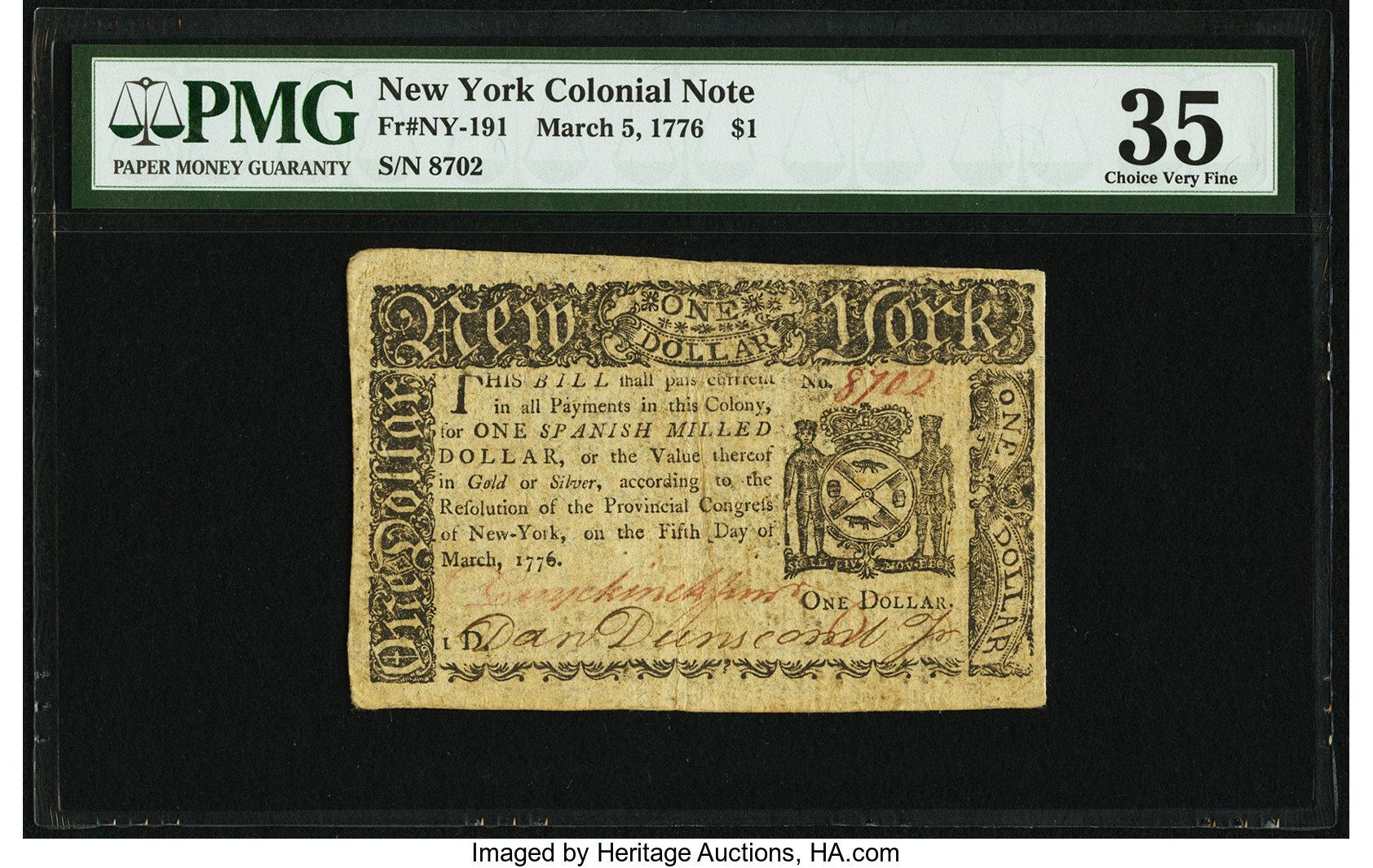 sample image for 1776 5-Mar $1  (Fr.# NY191)