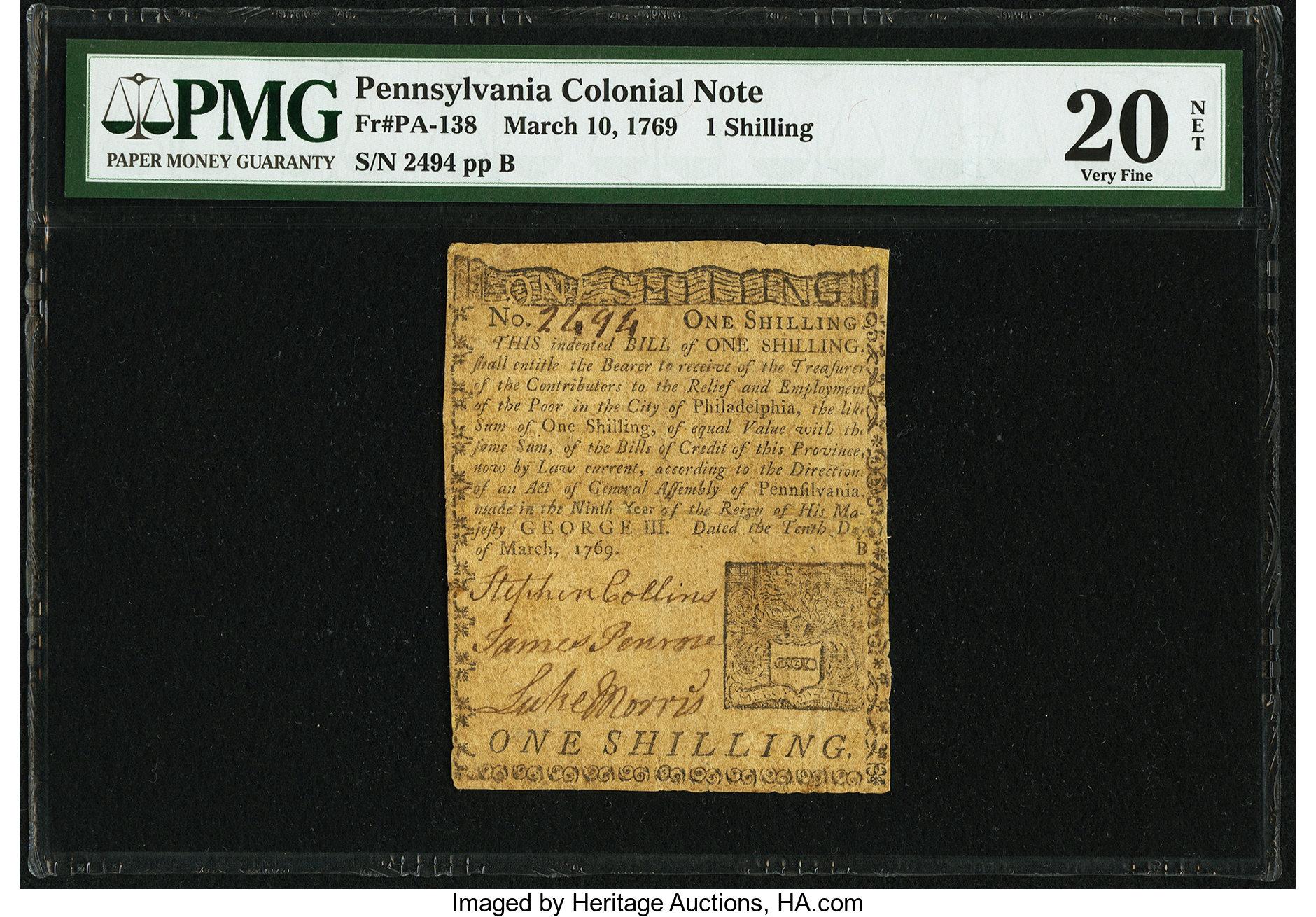 sample image for 1769 10-Mar 1s (Fr.# PA138)