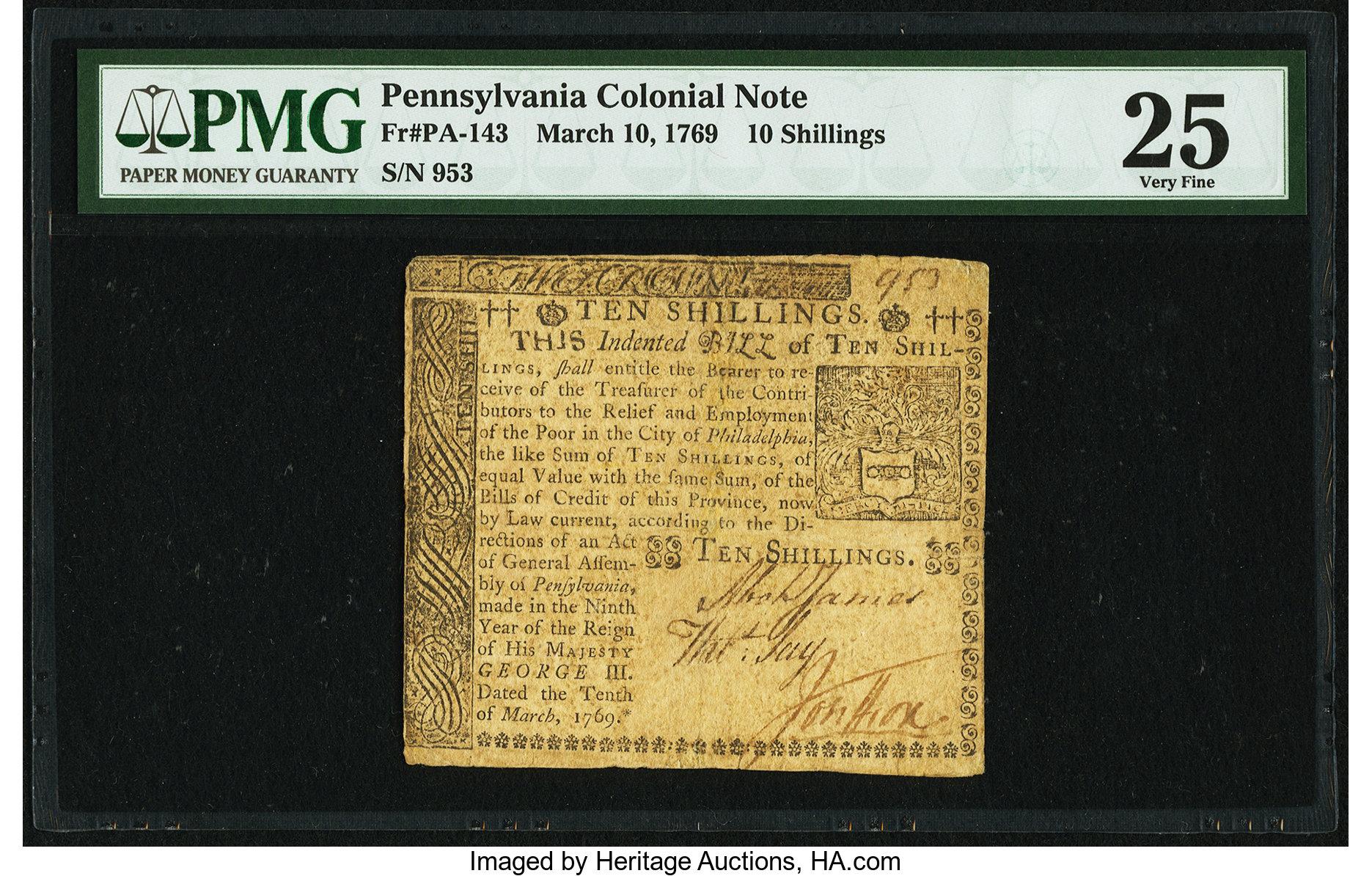 sample image for 1769 10-Mar 10s (Fr.# PA143)