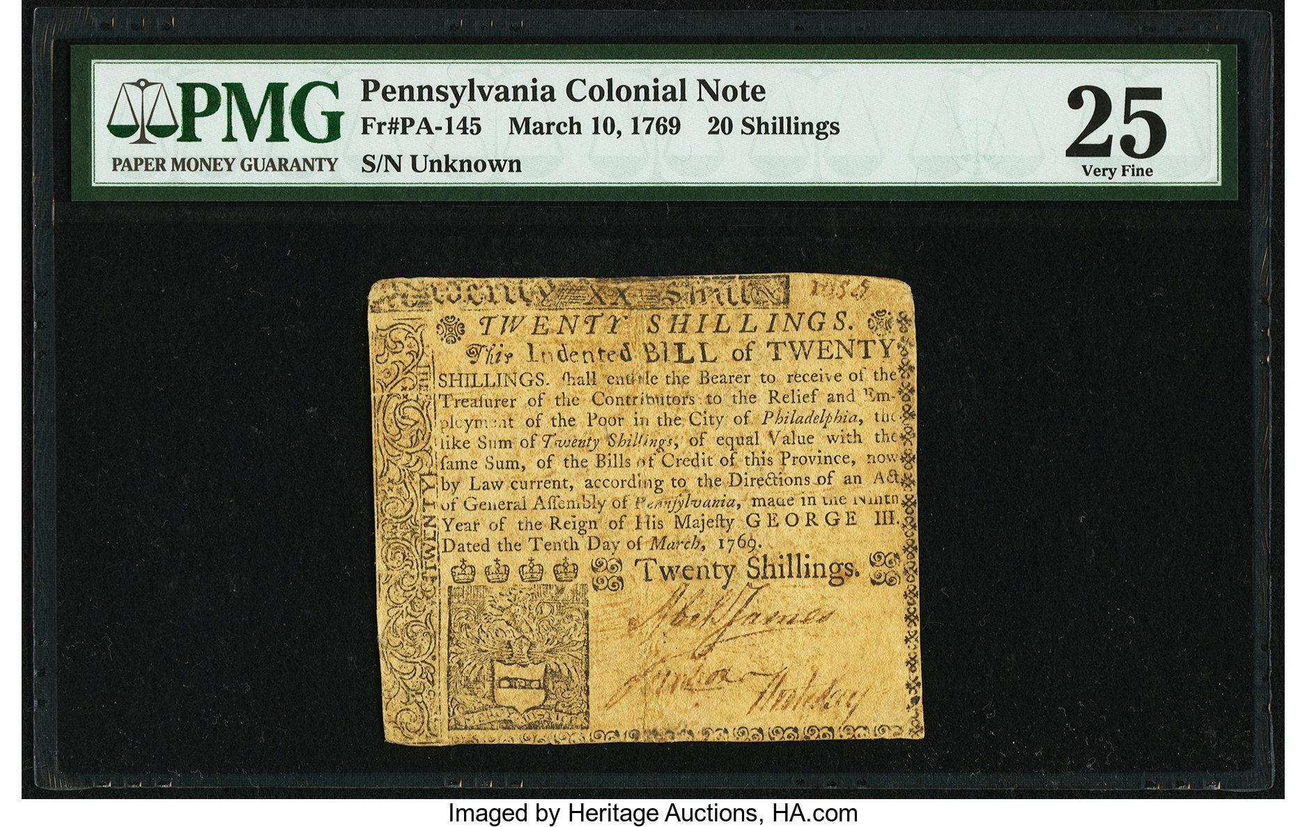 sample image for 1769 10-Mar 20s (Fr.# PA145)