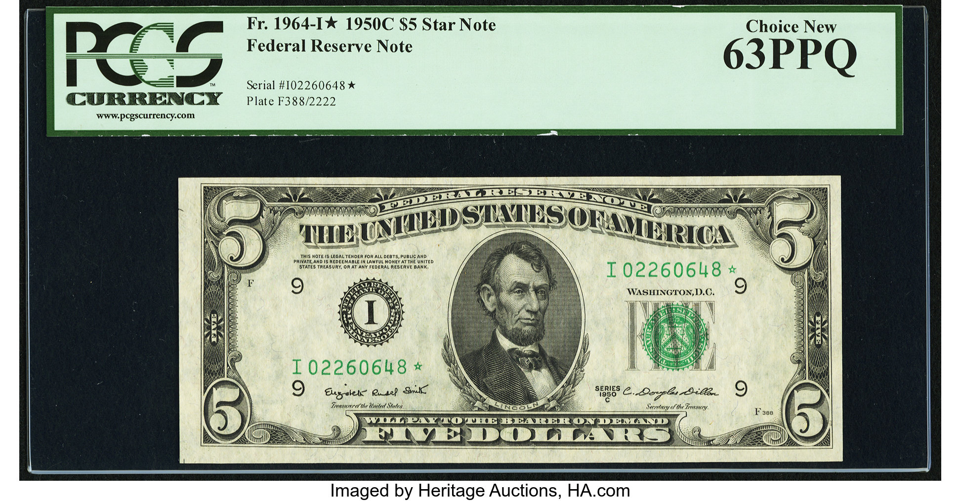 sample image for 1950C Dark Green Seal $5  (Fr.# 1964I)