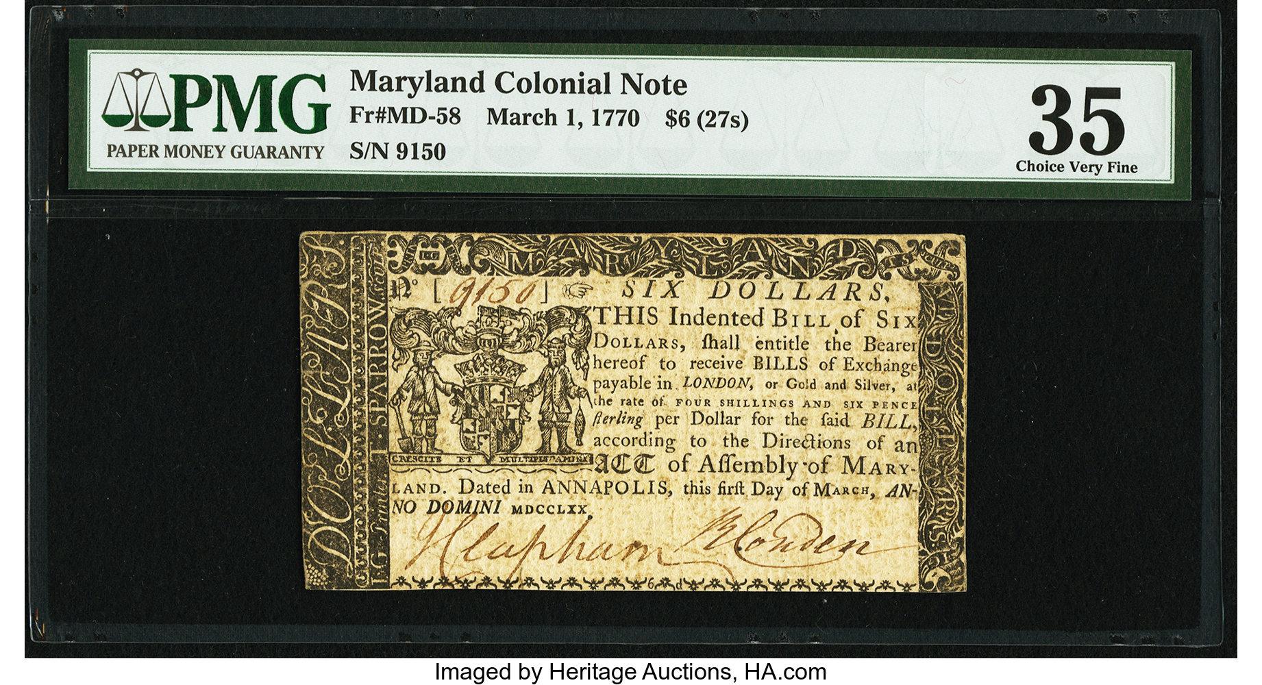 sample image for 1770 1-Mar $6  (Fr.# MD58)