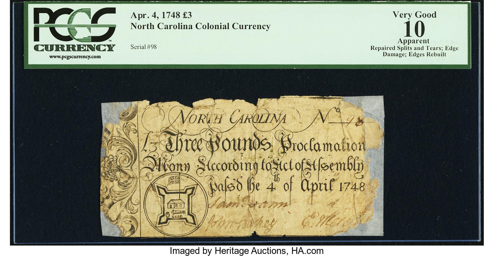 sample image for 1748 4-Apr £3 (Fr.# NC70)