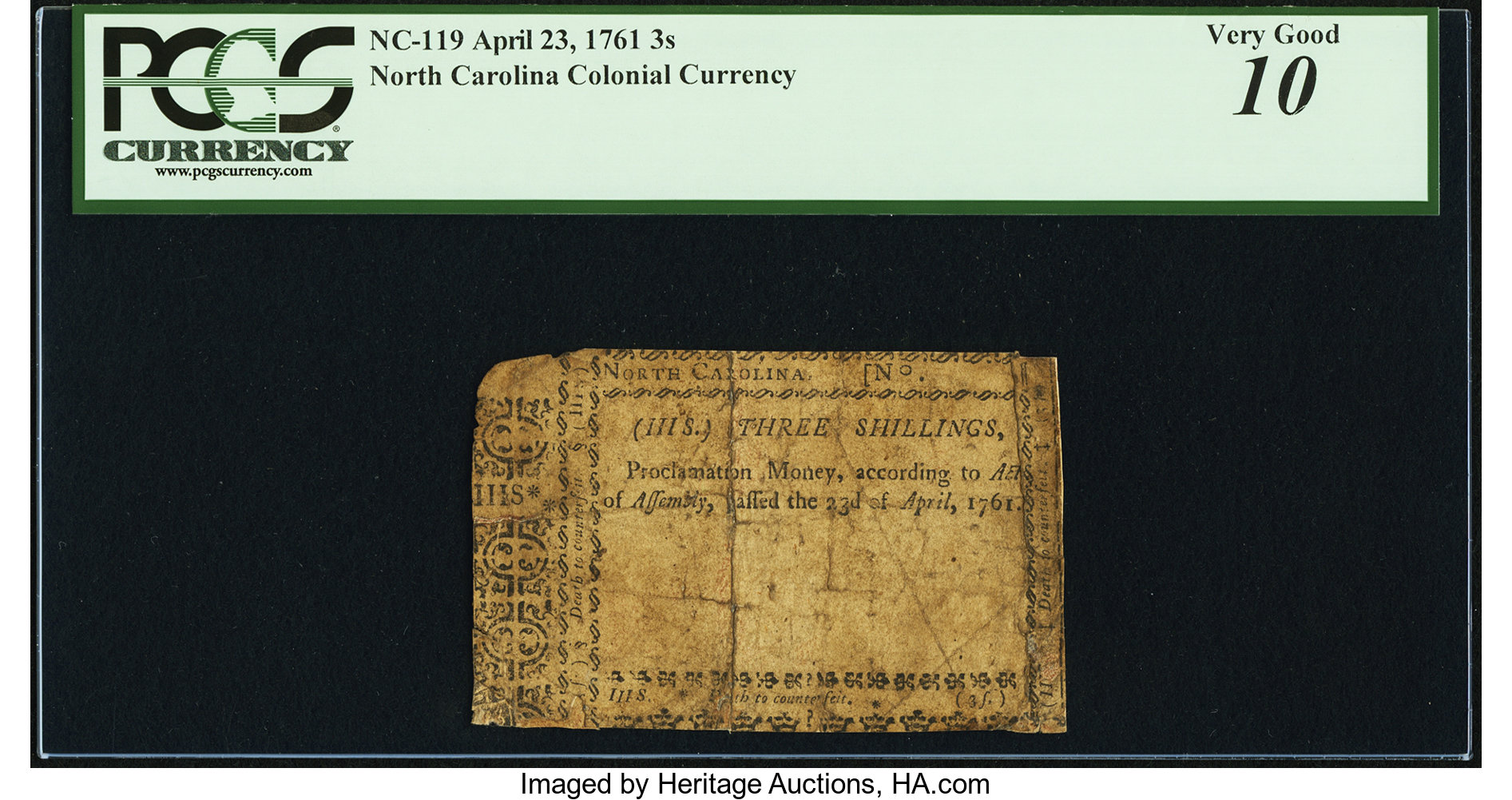 sample image for 1761 23-Apr 3s (Fr.# NC119)