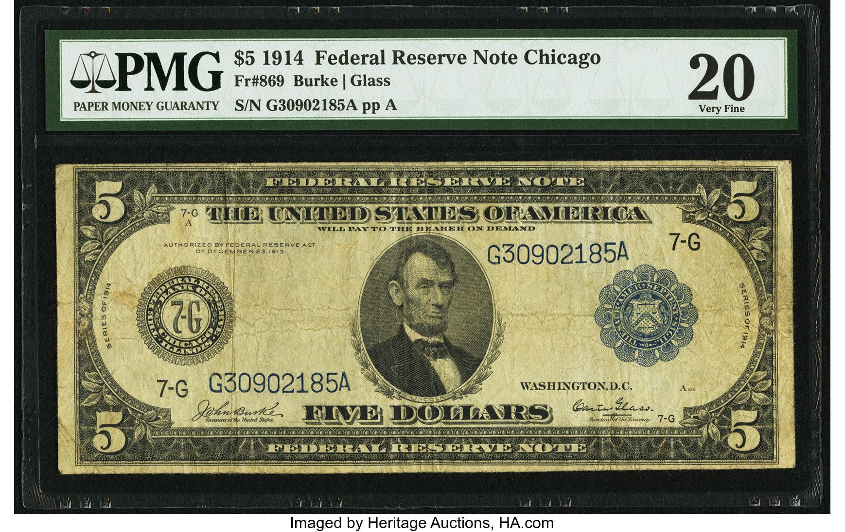 sample image for Fr.869 $5 Chicago