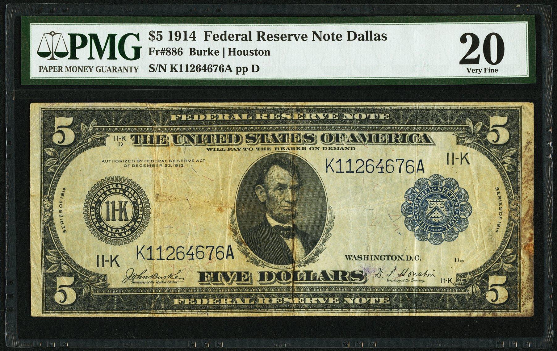 sample image for Fr.886 $5 Dallas