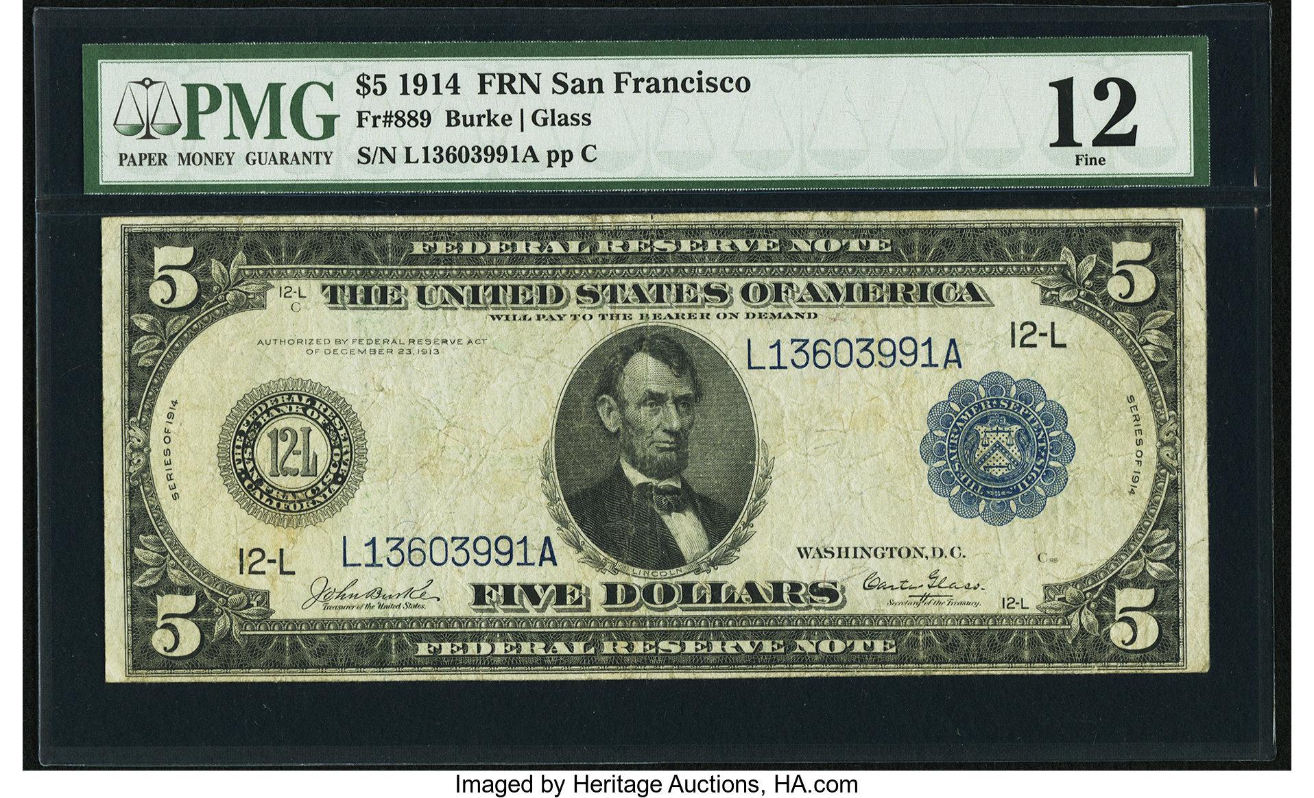 sample image for Fr.889 $5 SF