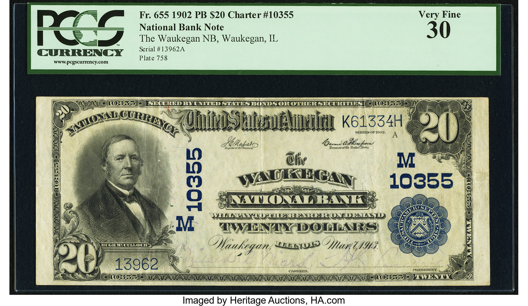 sample image for 1902 3rd Charter Period $20  Plain Back 3rd Issue (Fr.# 655)