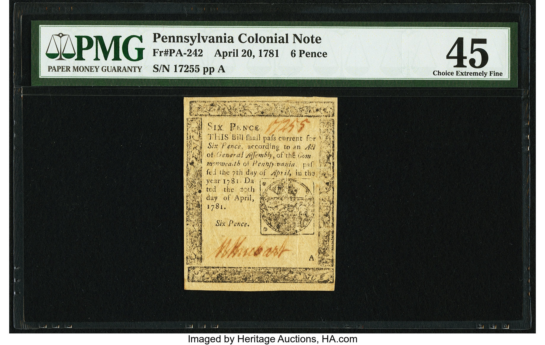 sample image for 1781 20-Apr 6d (Fr.# PA242)