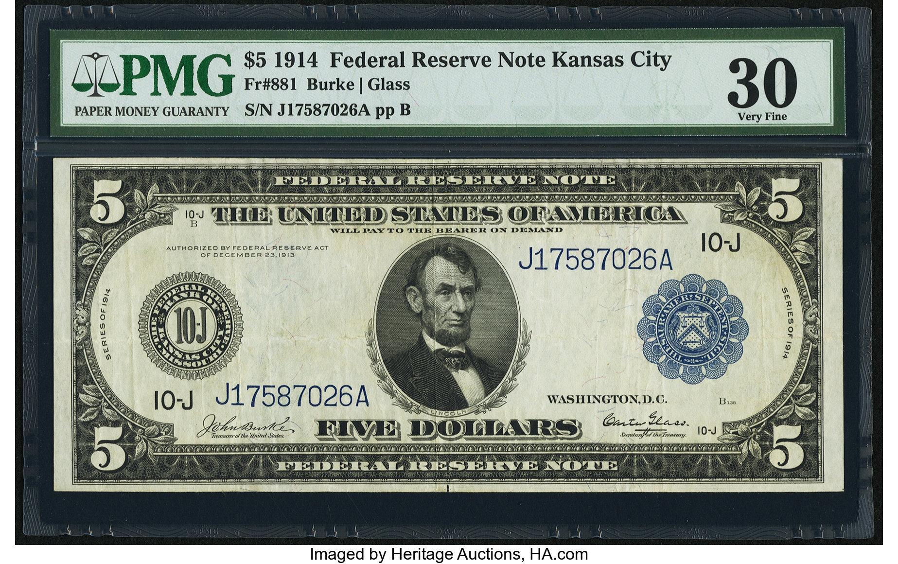 sample image for Fr.881 $5 KC
