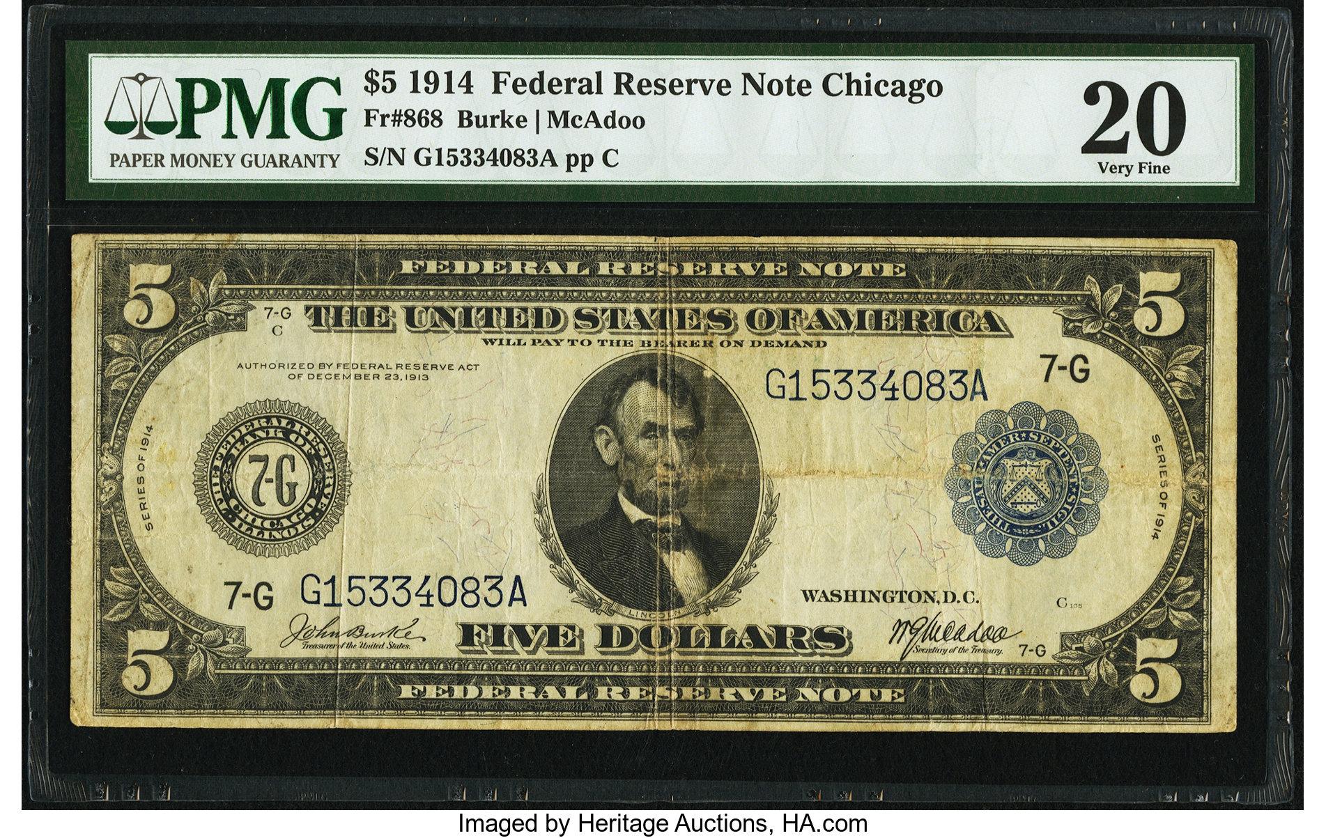 sample image for Fr.868 $5 Chicago