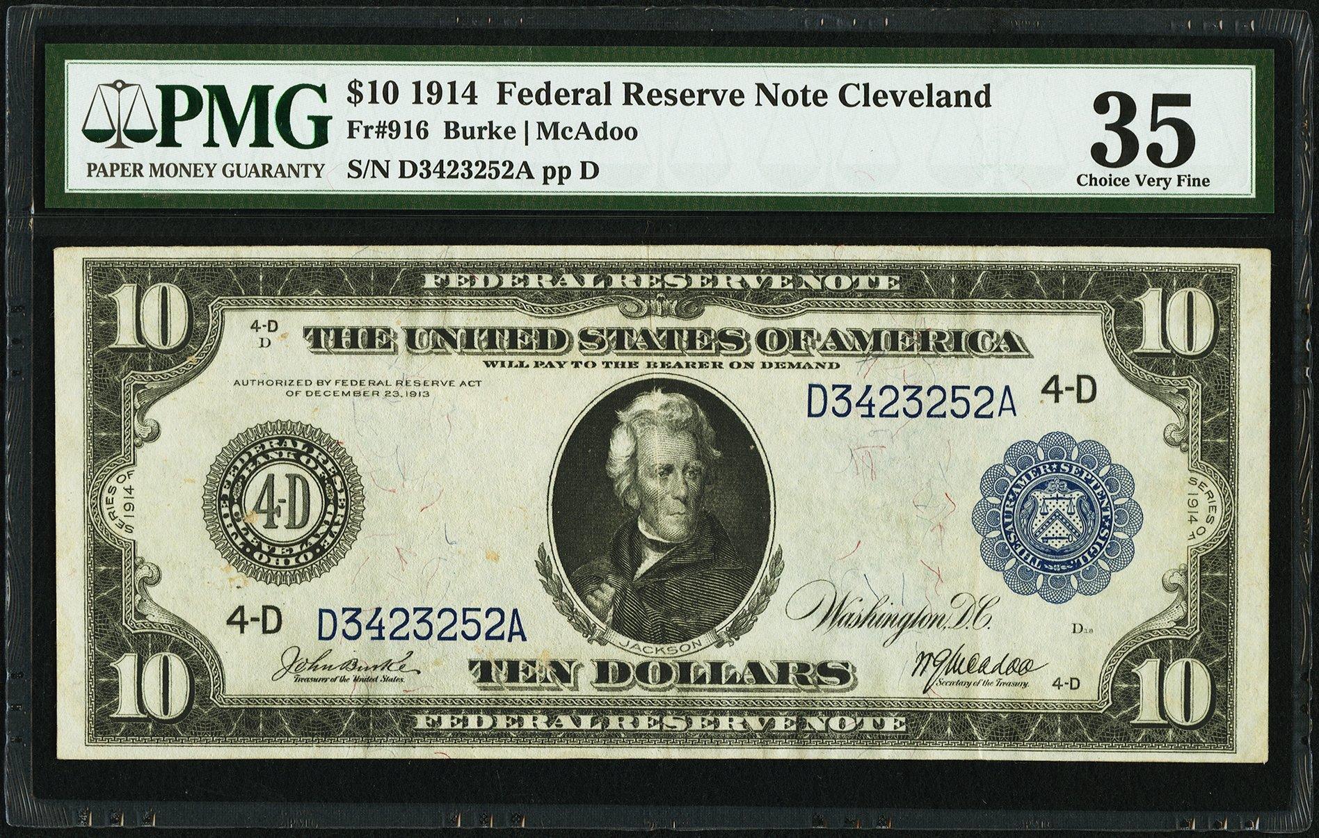 sample image for Fr.916 $10 Cleveland