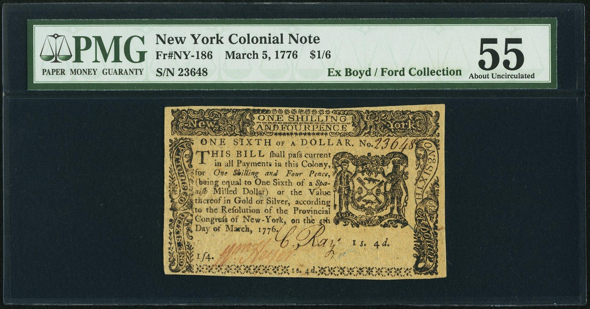 sample image for 1776 5-Mar $1/6 (Fr.# NY186)