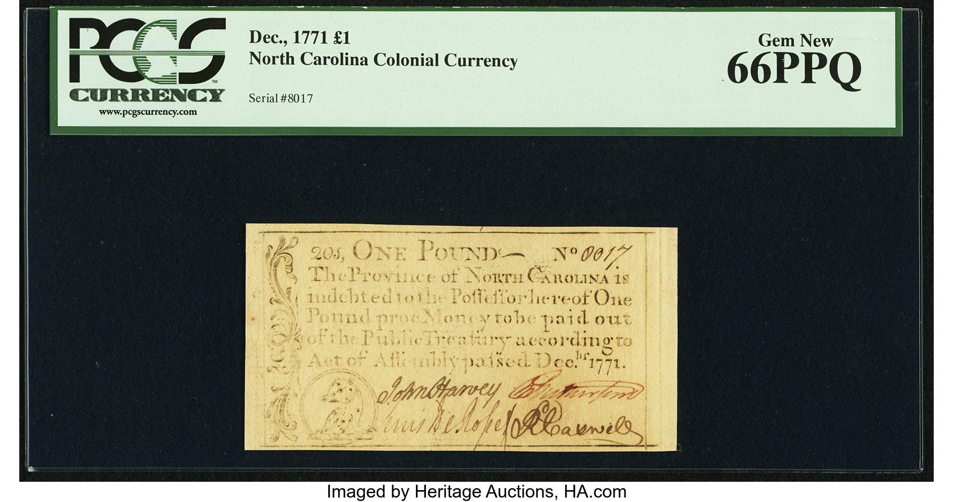 sample image for 1771 December £1 (Fr.# NC139)
