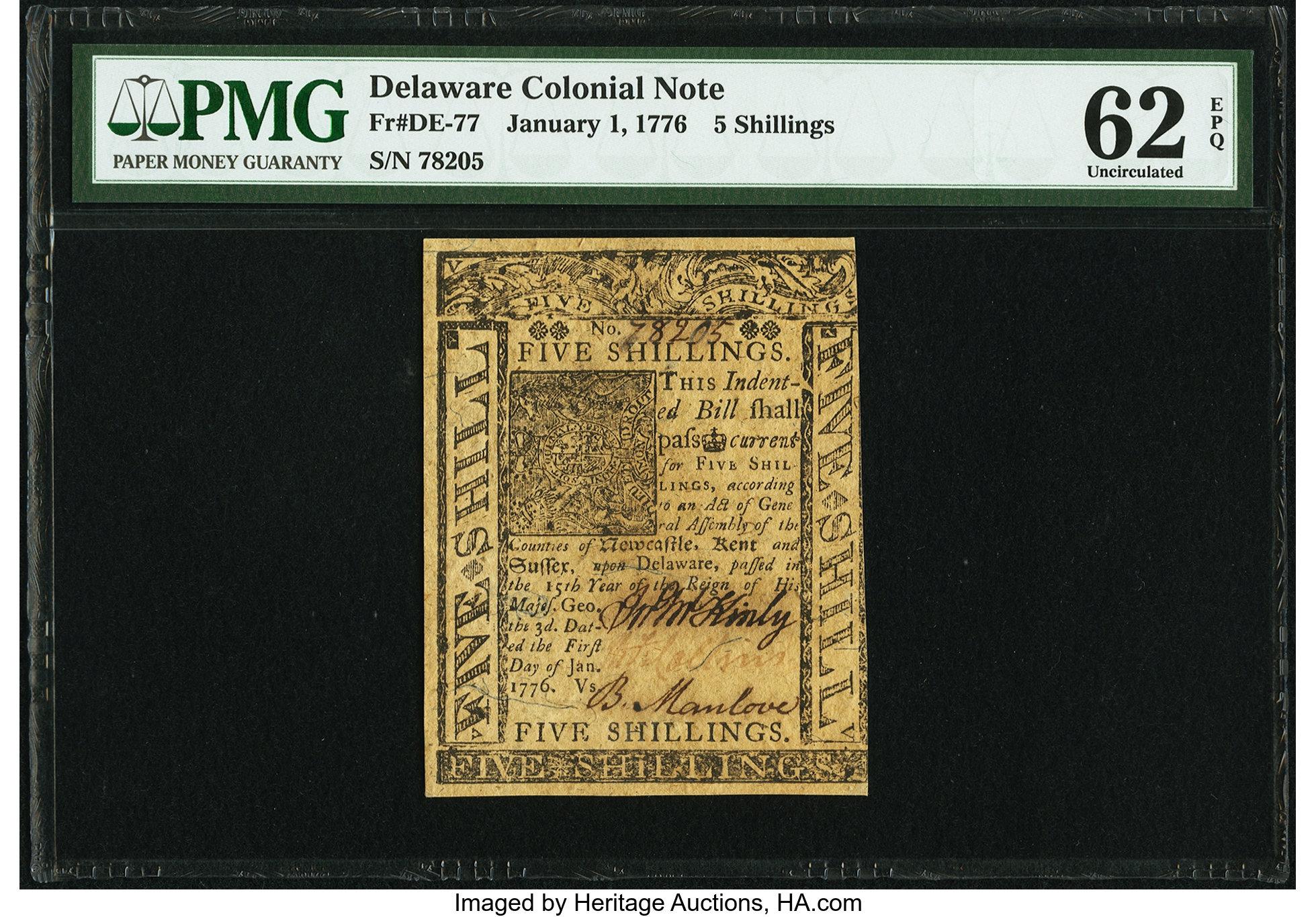 sample image for 1776 1-Jan 5s (Fr.# DE77)